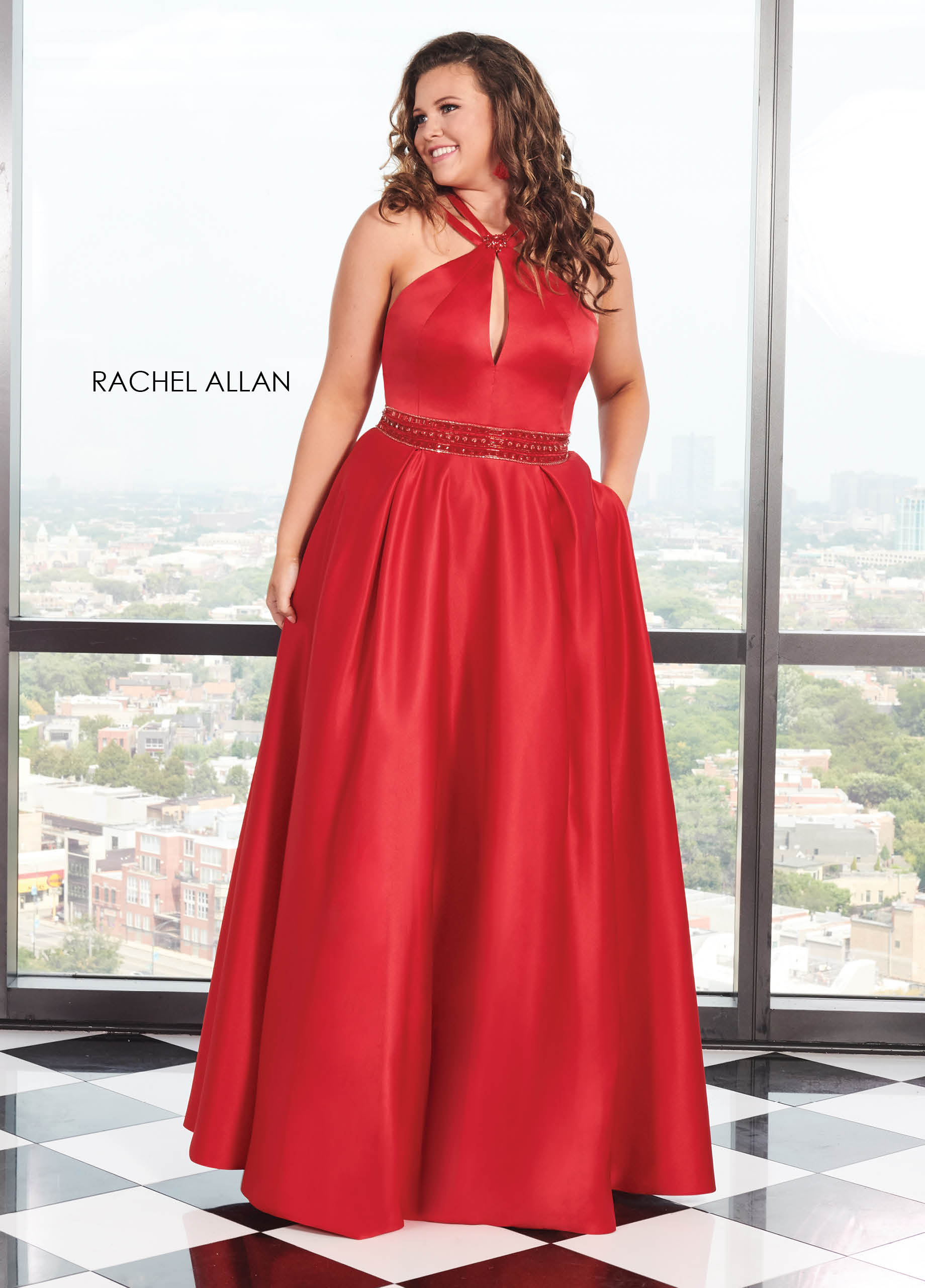 Halter A-Line Plus Size Dresses in Red Color