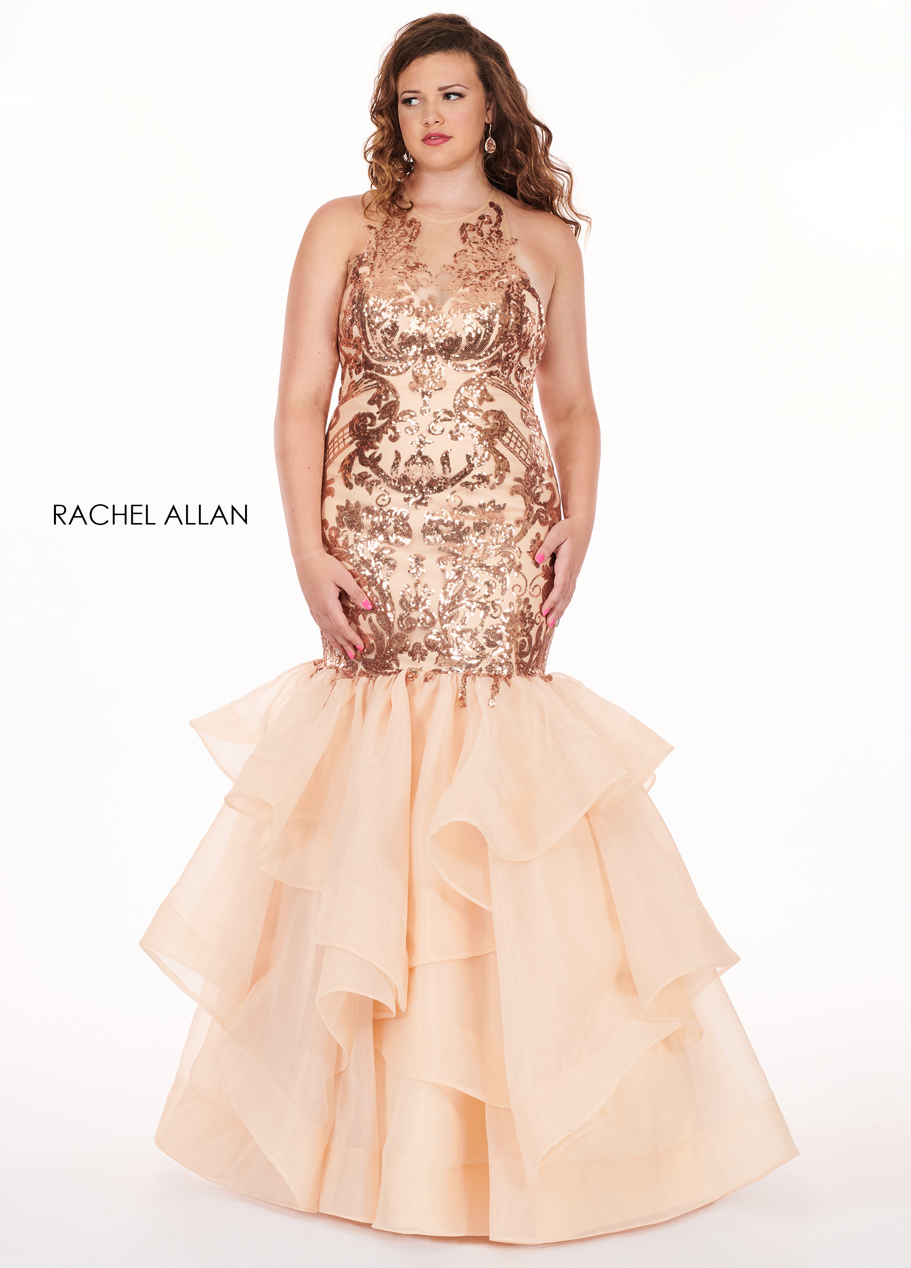 V-Neck A-Line Curves Dresses in Champagne Color | Style - 6688