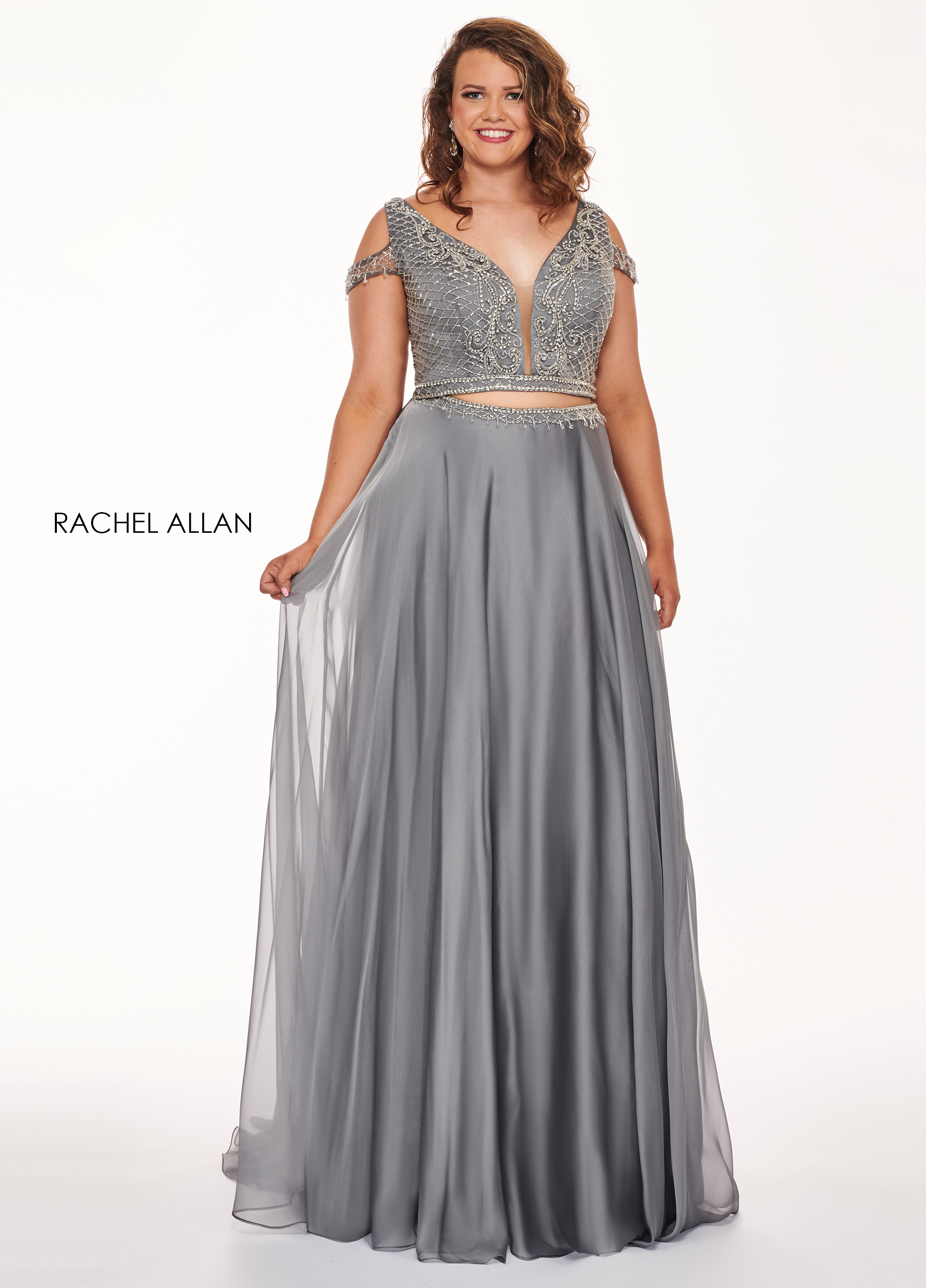 V-Neck Two-Piece Curves Dresses in Grey Color | Style - 6693