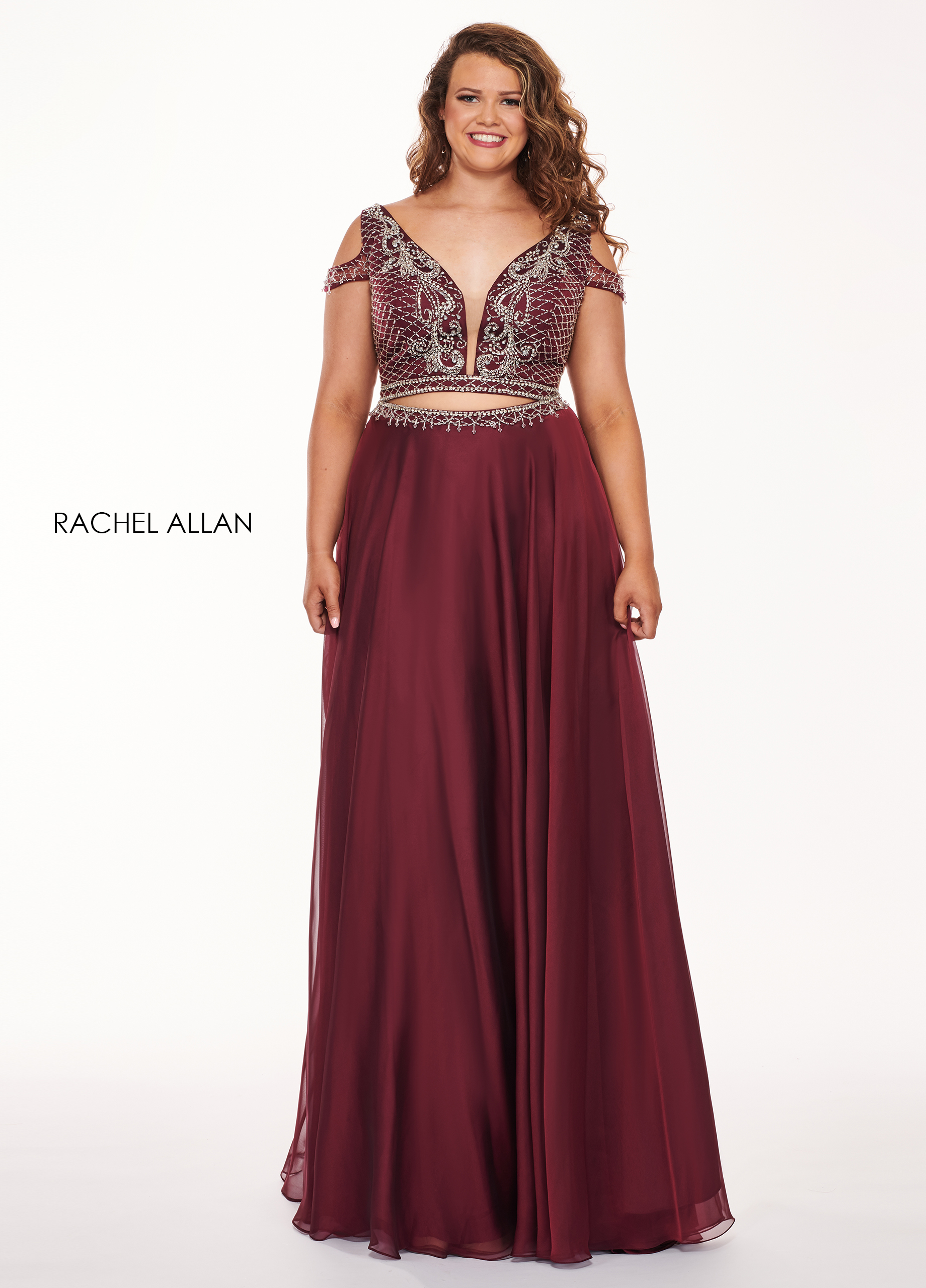 V-Neck Two-Piece Curves Dresses in Red Color | Style - 6693