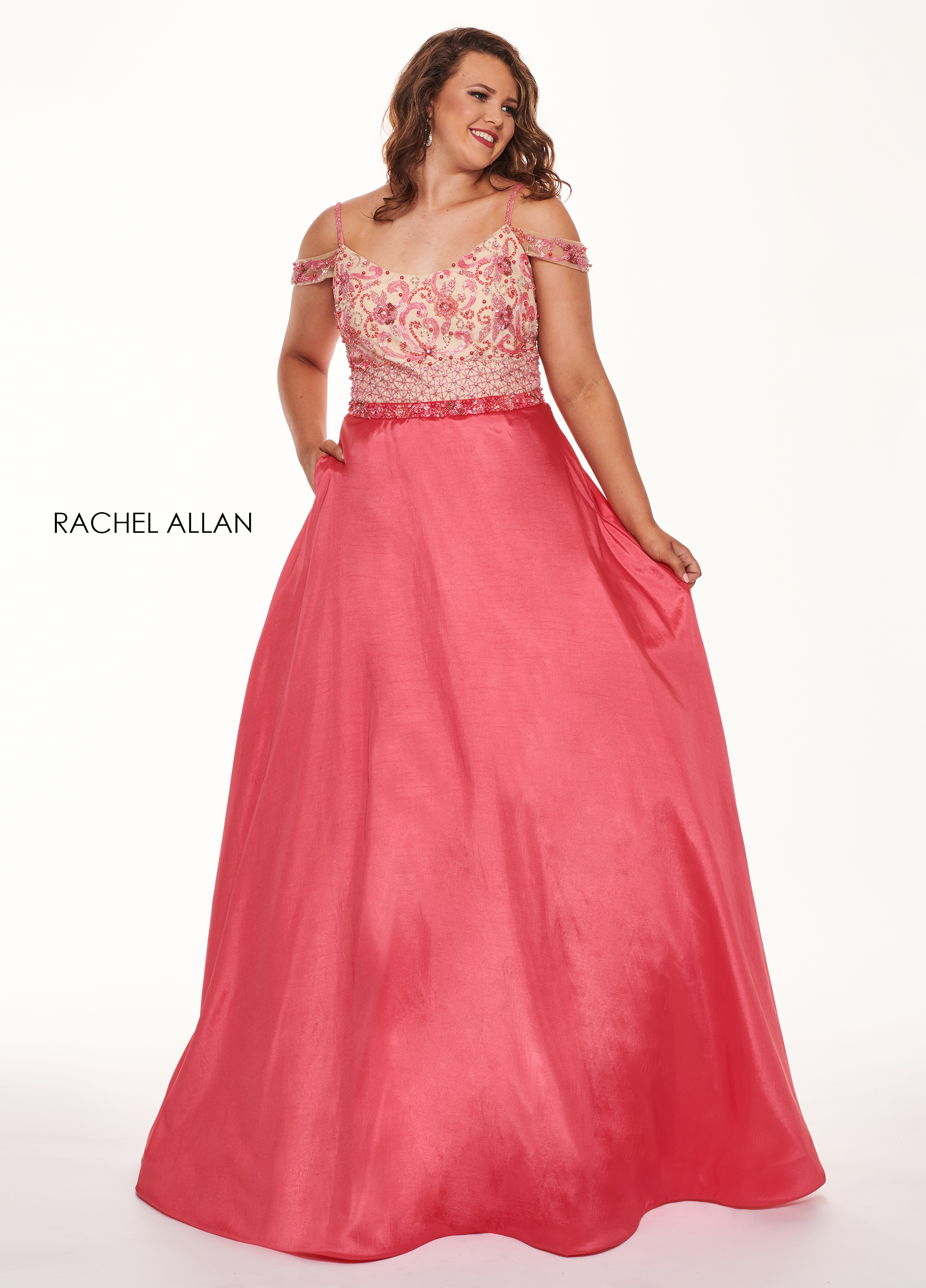 Scoop Neck A-Line Curves Dresses in Coral Color | Style - 6696