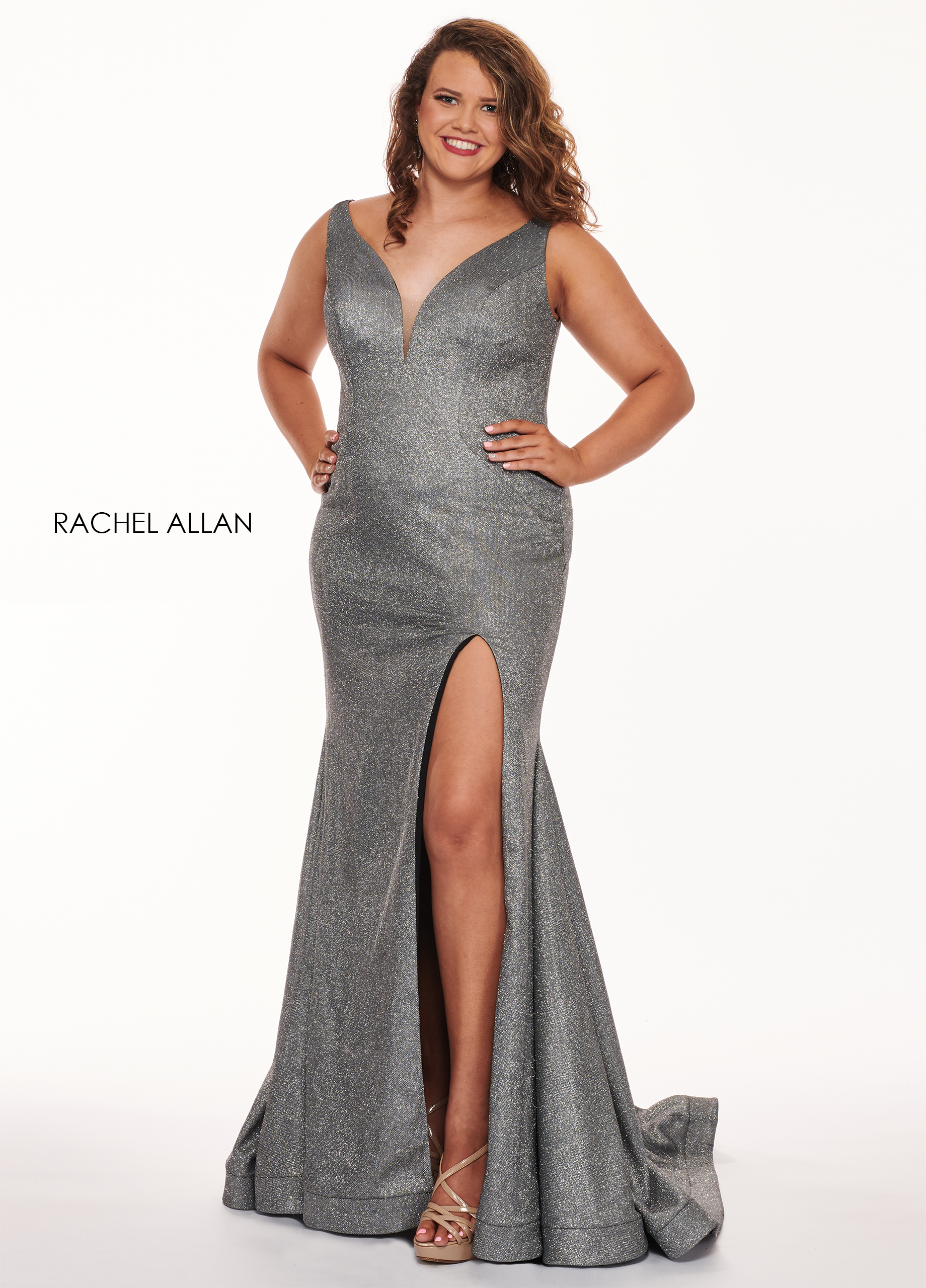 V-Neck Fit & Flare Plus Size Dresses in GUNMETAL Color