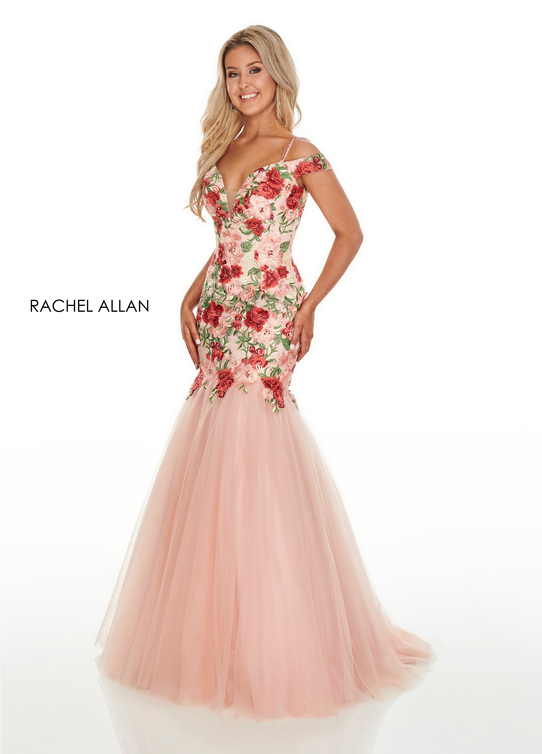 Off The Shoulder Mermaid Prom Dresses in Blush Color