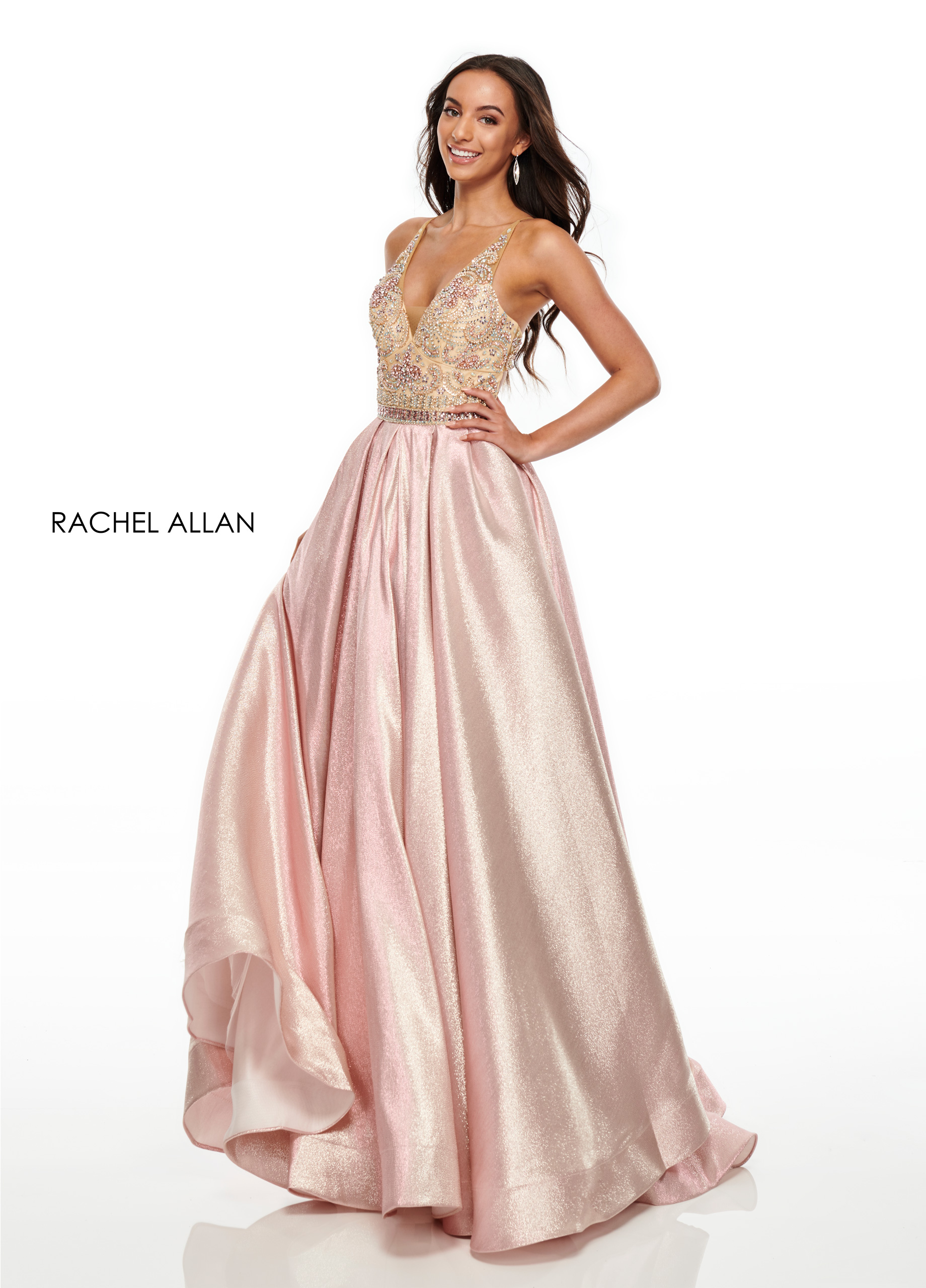 V-Neck A-Line Prom Dresses in Blush Color
