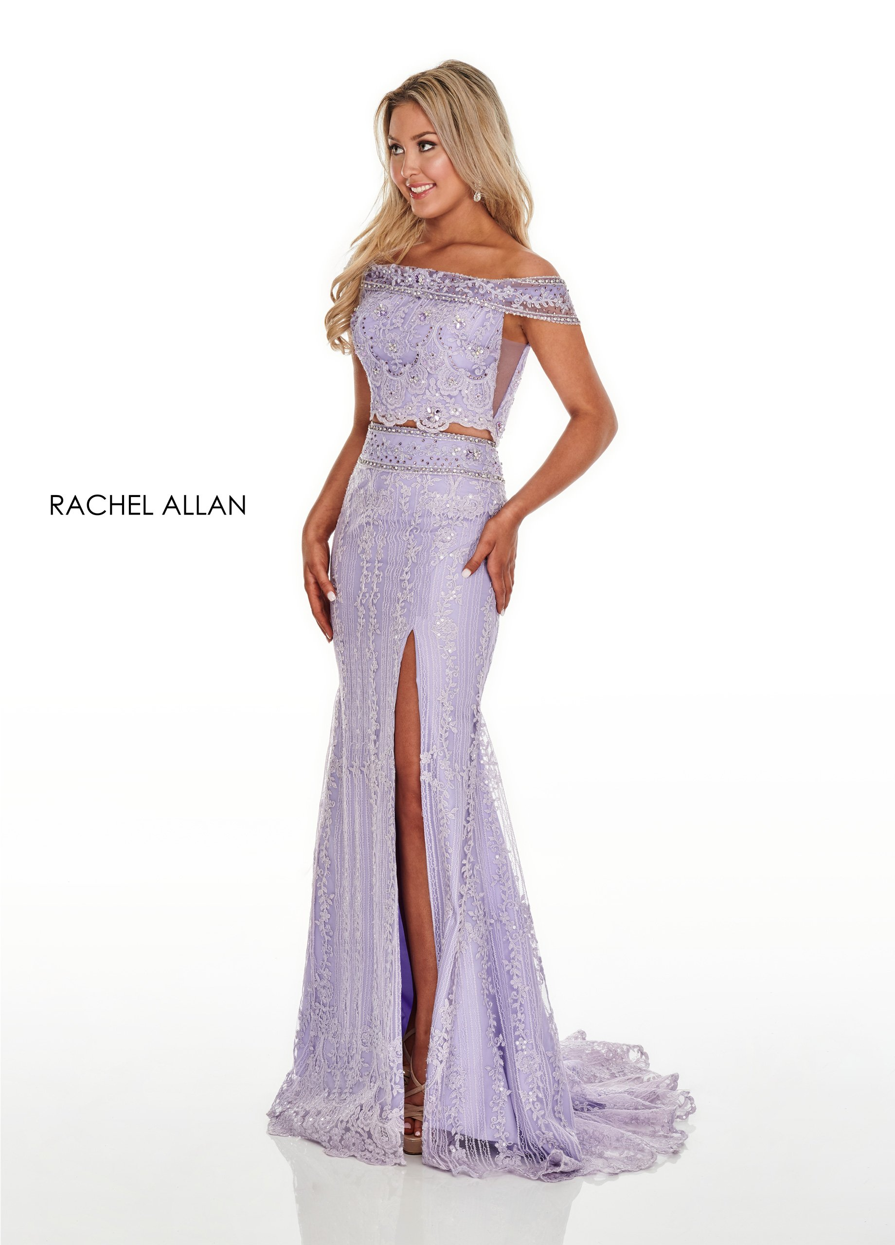 Off The Shoulder Fitted Long Prom Dresses in Lilac Color