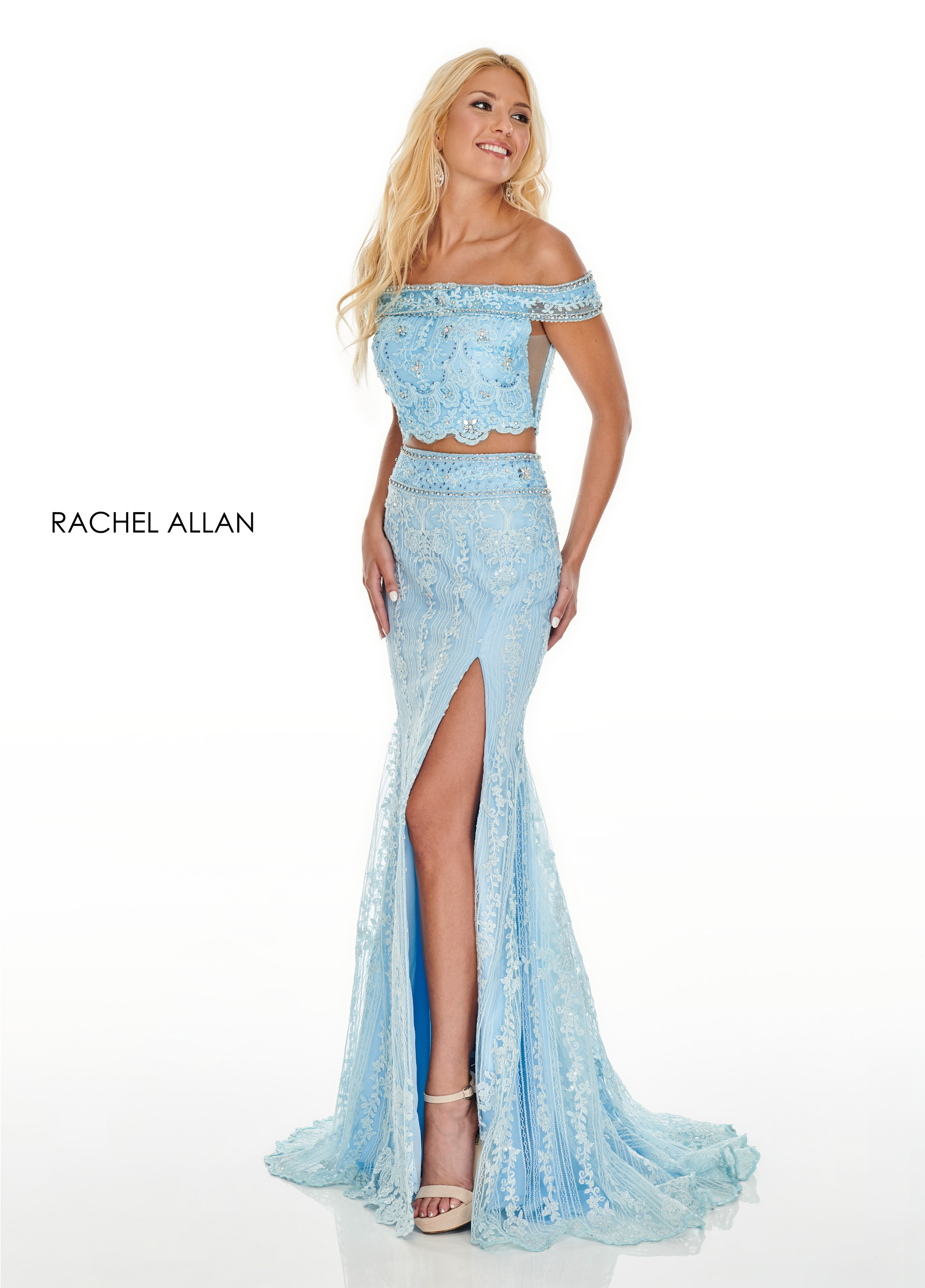 Off The Shoulder Fitted Long Prom Dresses in Blue Color
