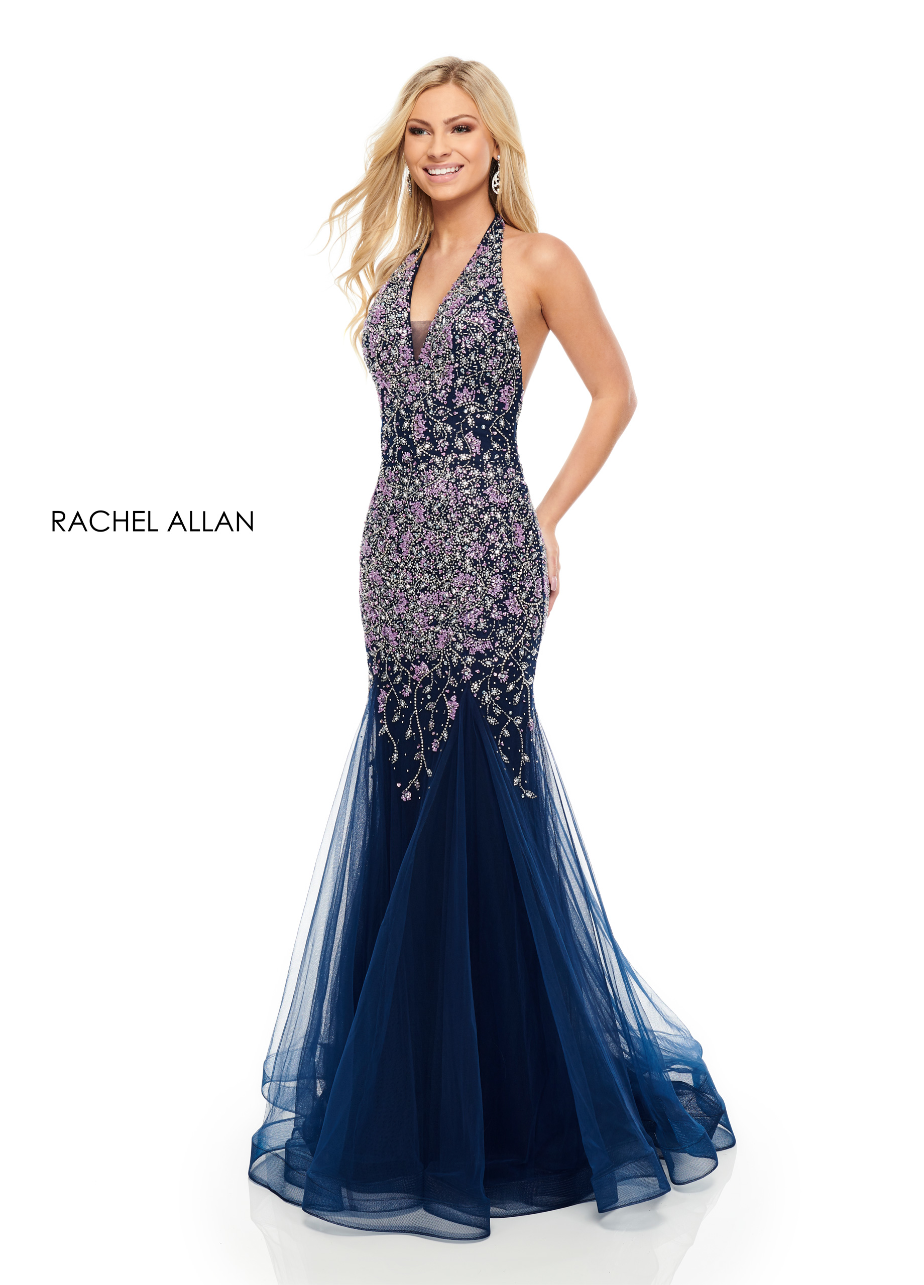 Halter Mermaid Prom Dresses in Navy Color