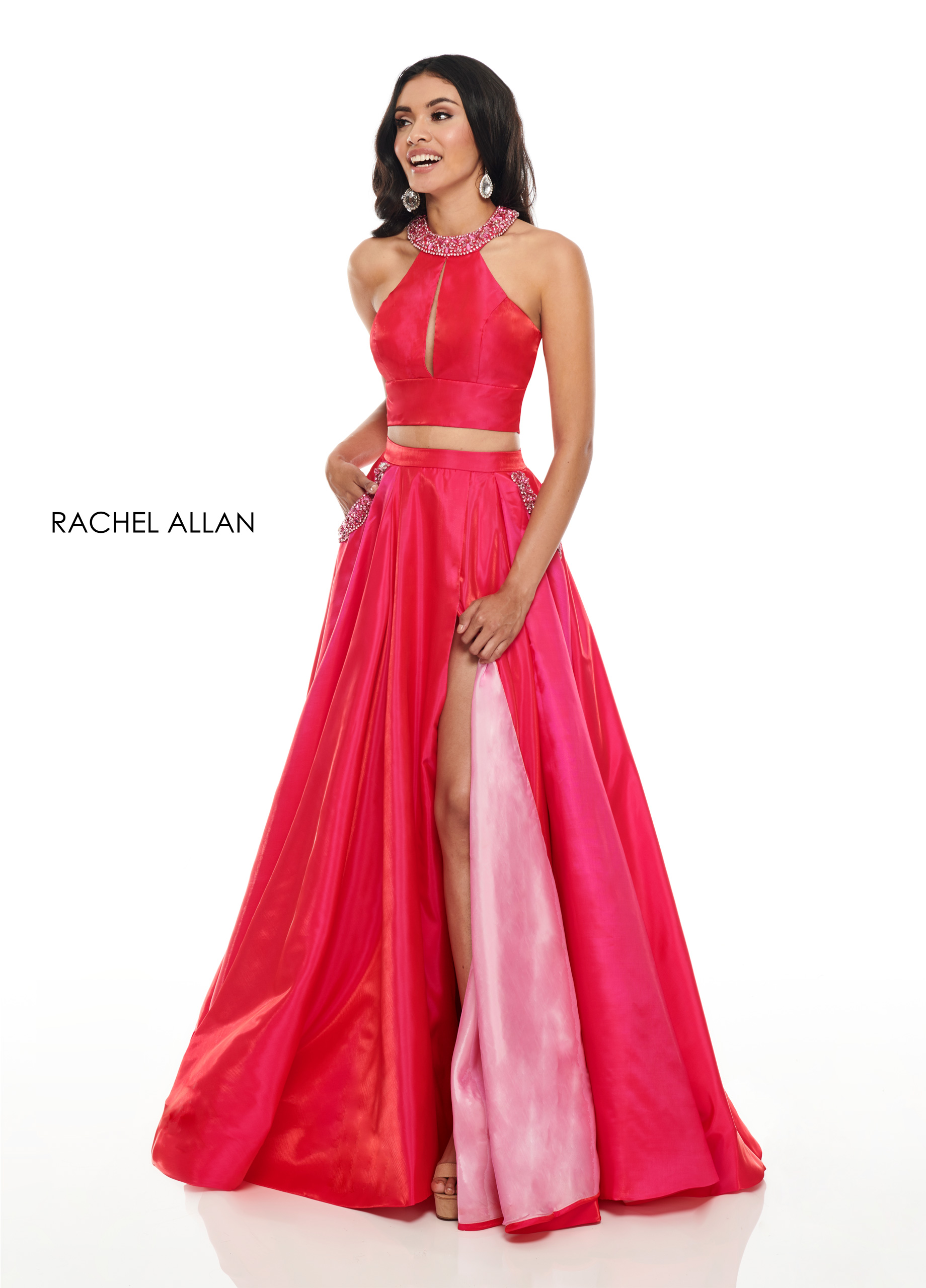 Beaded Two-Piece Prom Dresses in Fuchsia Color