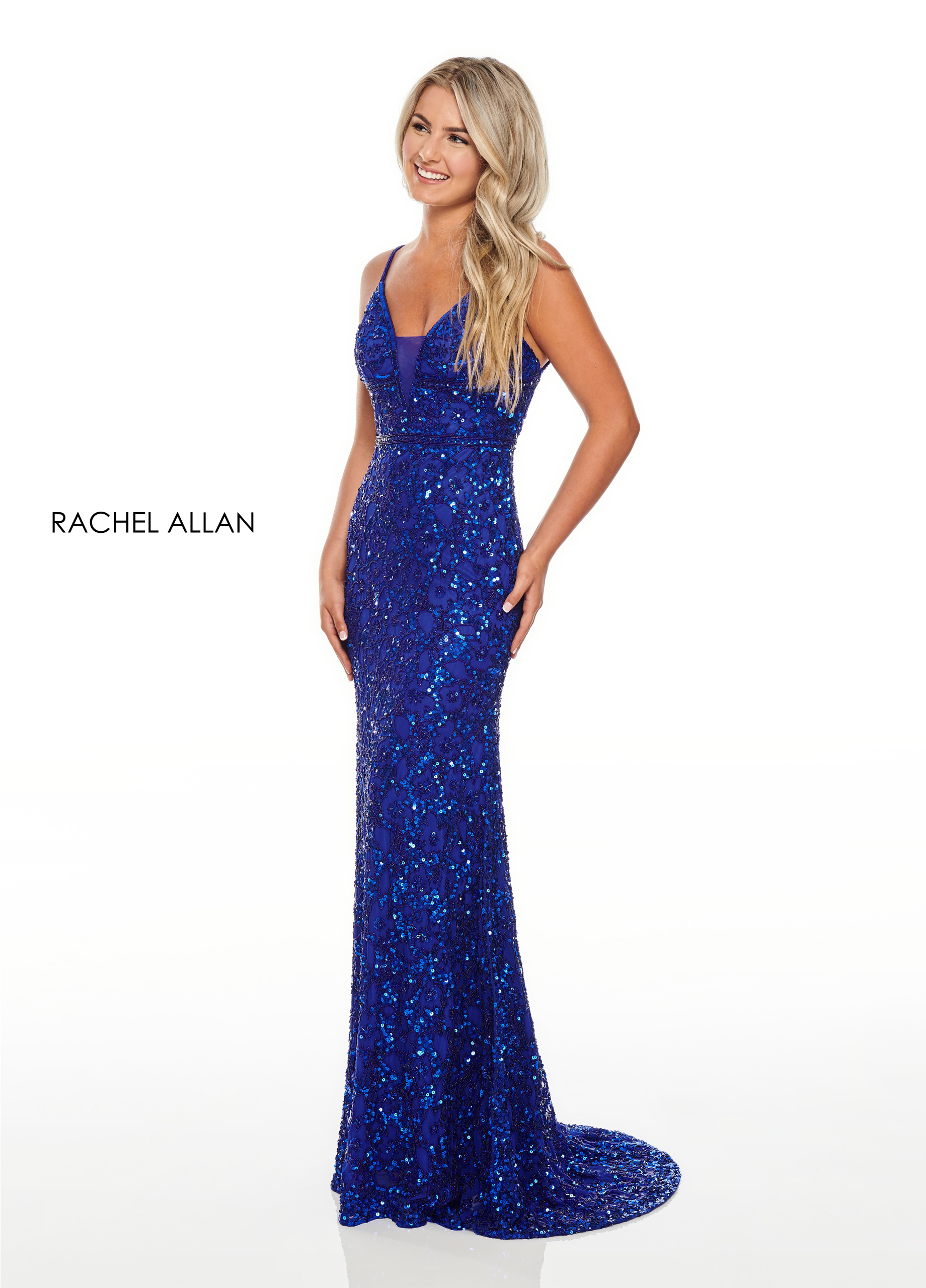 V-Neck Fitted Long Prom Dresses in Royal Color