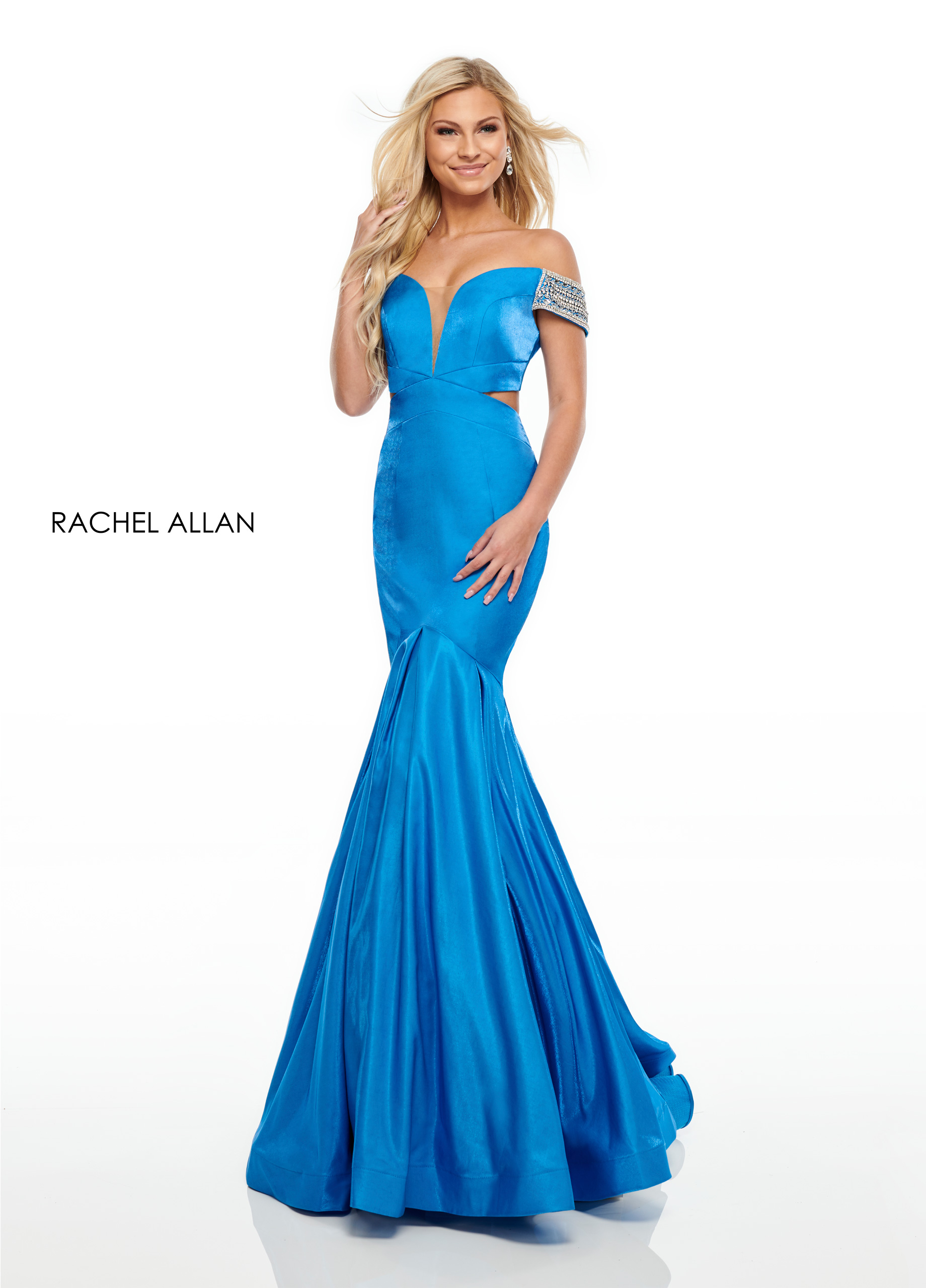 Off The Shoulder Mermaid Prom Dresses in Blue Color