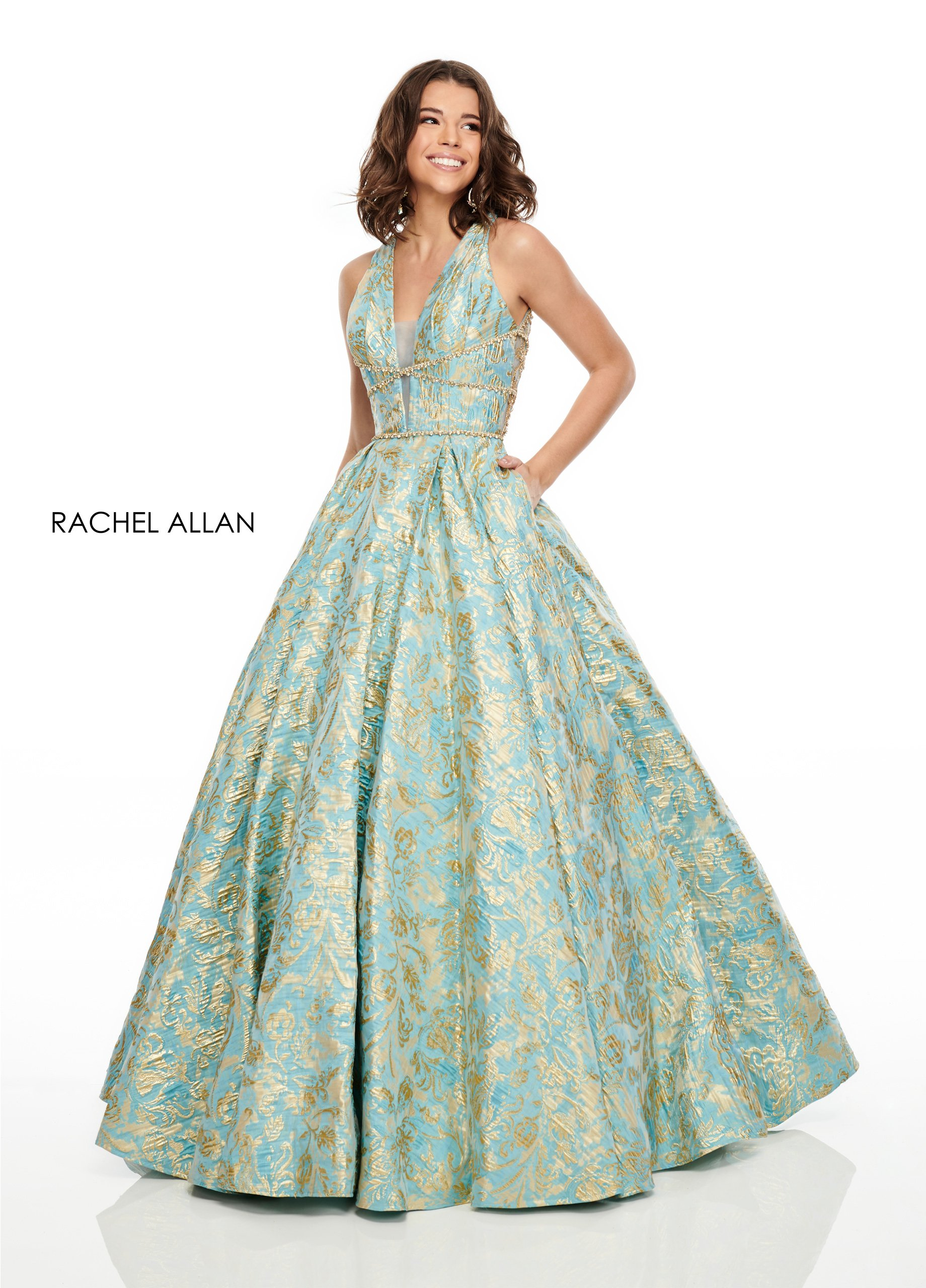 V-Neck Ball Gowns Prom Dresses in Aqua Color