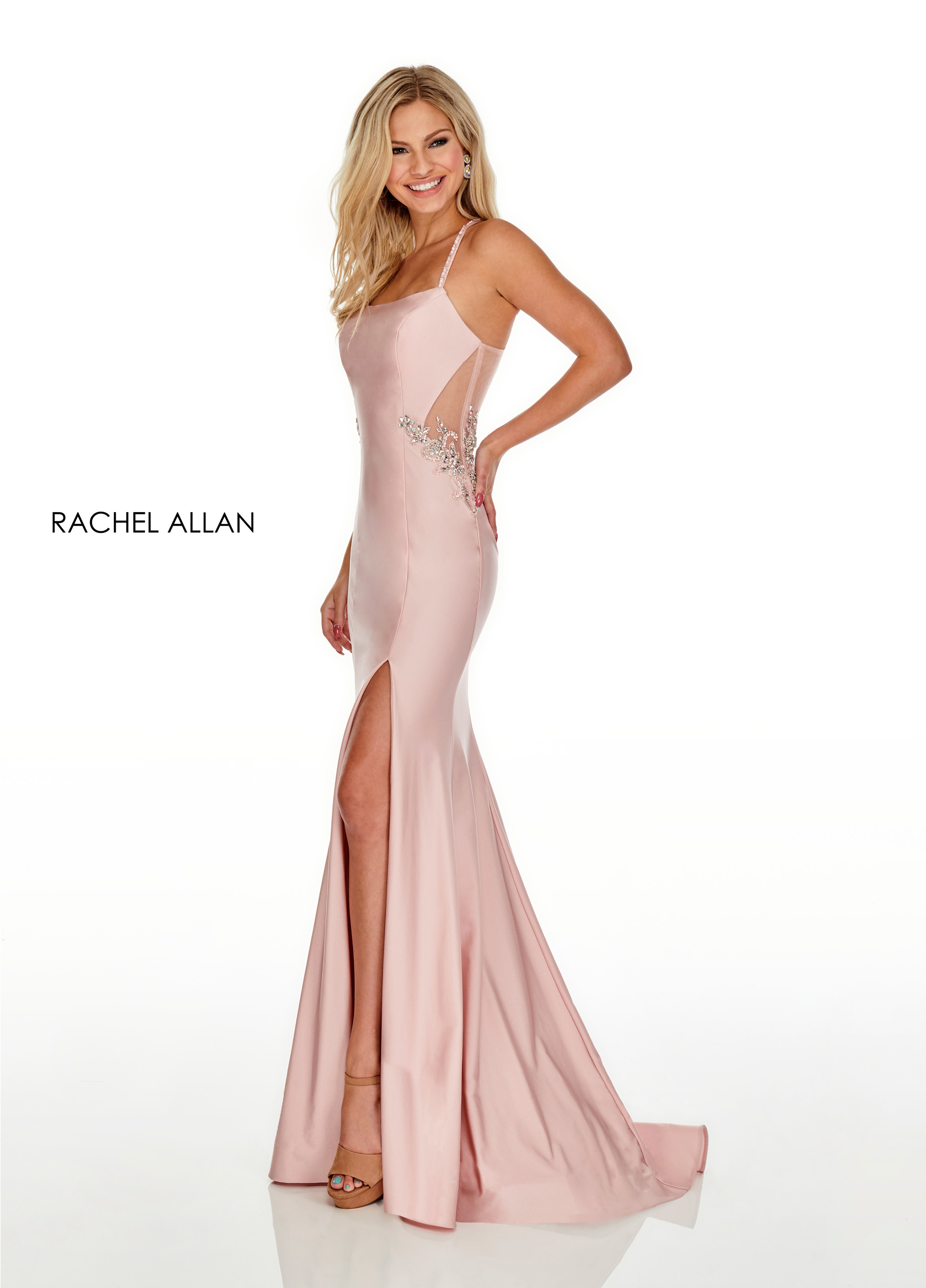 Square Fitted Long Prom Dresses in Blush Color