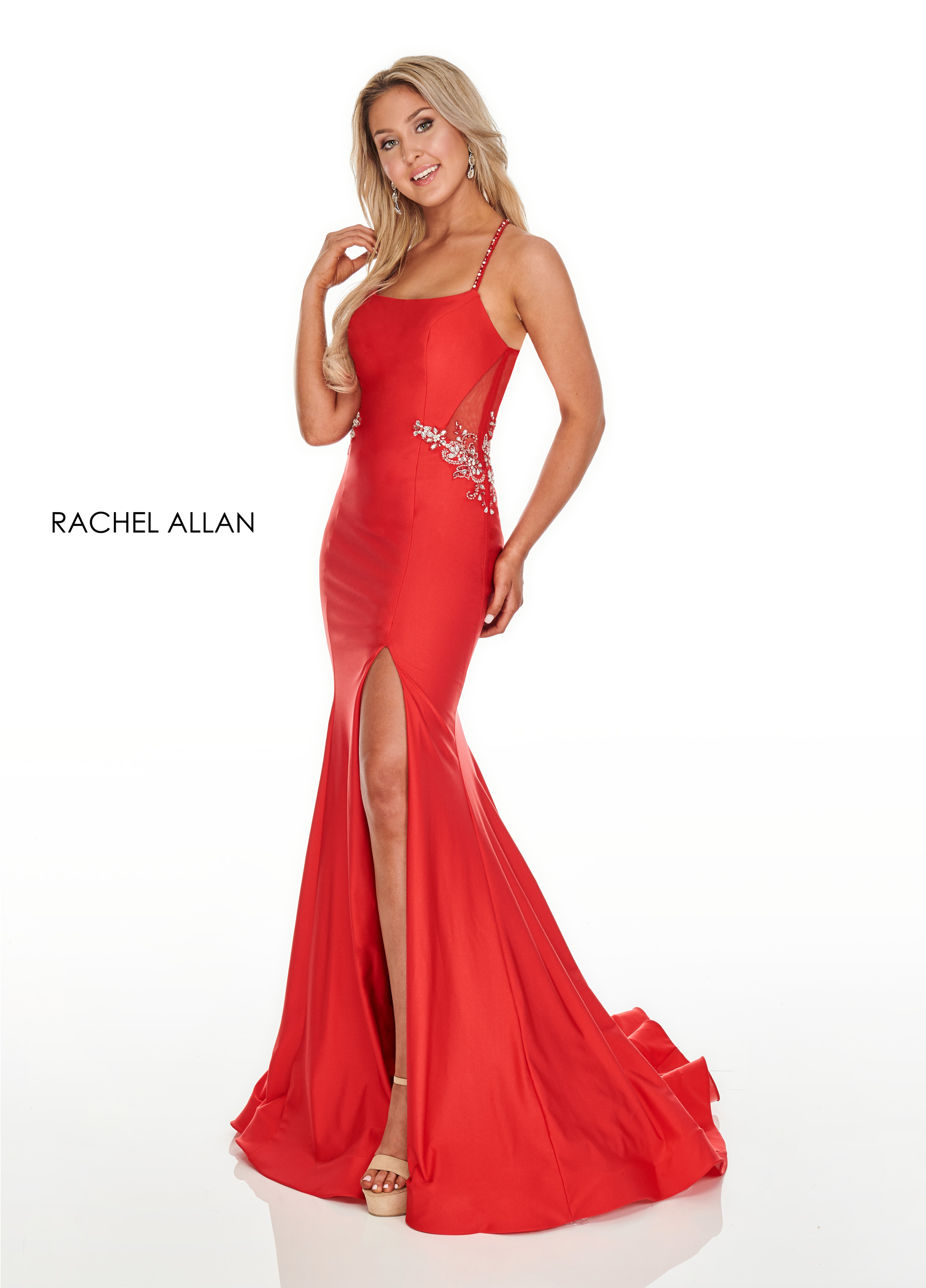 Square Fitted Long Prom Dresses in Red Color