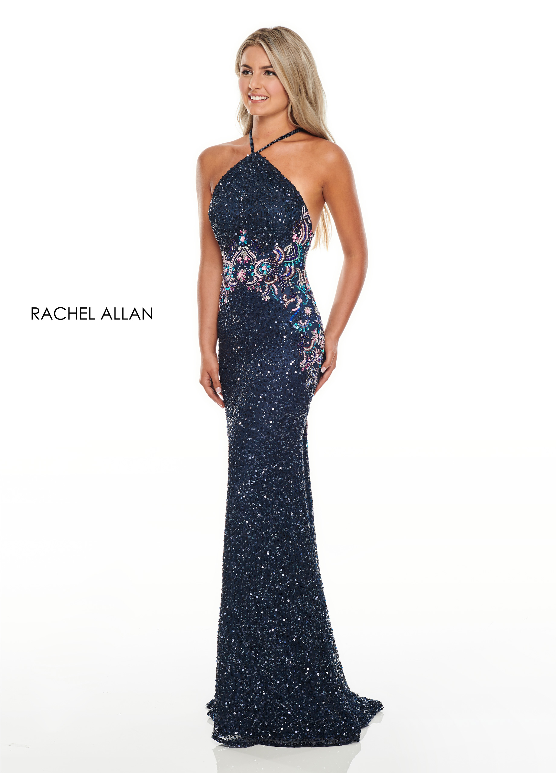 High Neckline Fitted Long Prom Dresses in Navy Color