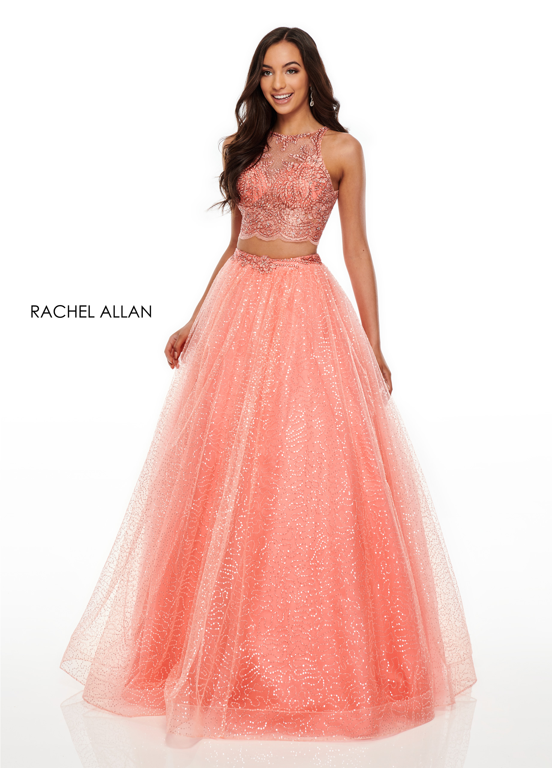 High Neckline Ball Gowns Prom Dresses in Coral Color