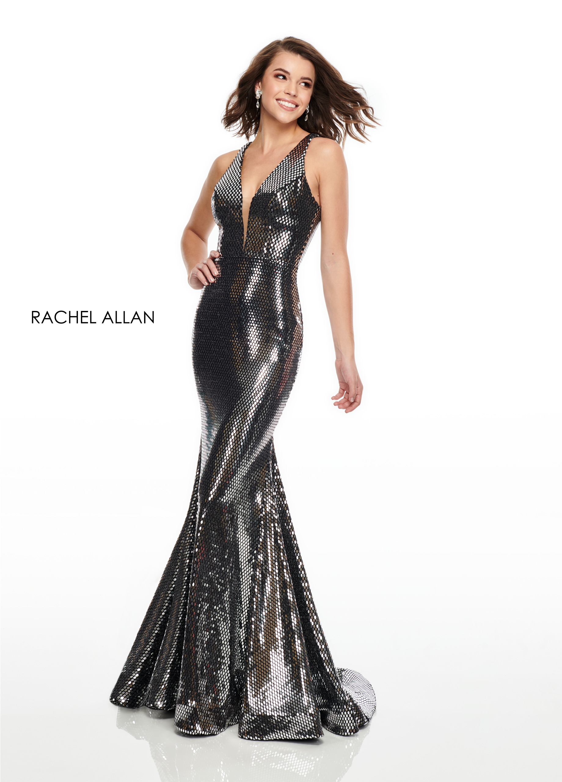 V-Neck Fitted Long Prom Dresses in Silver/gunmetal Color