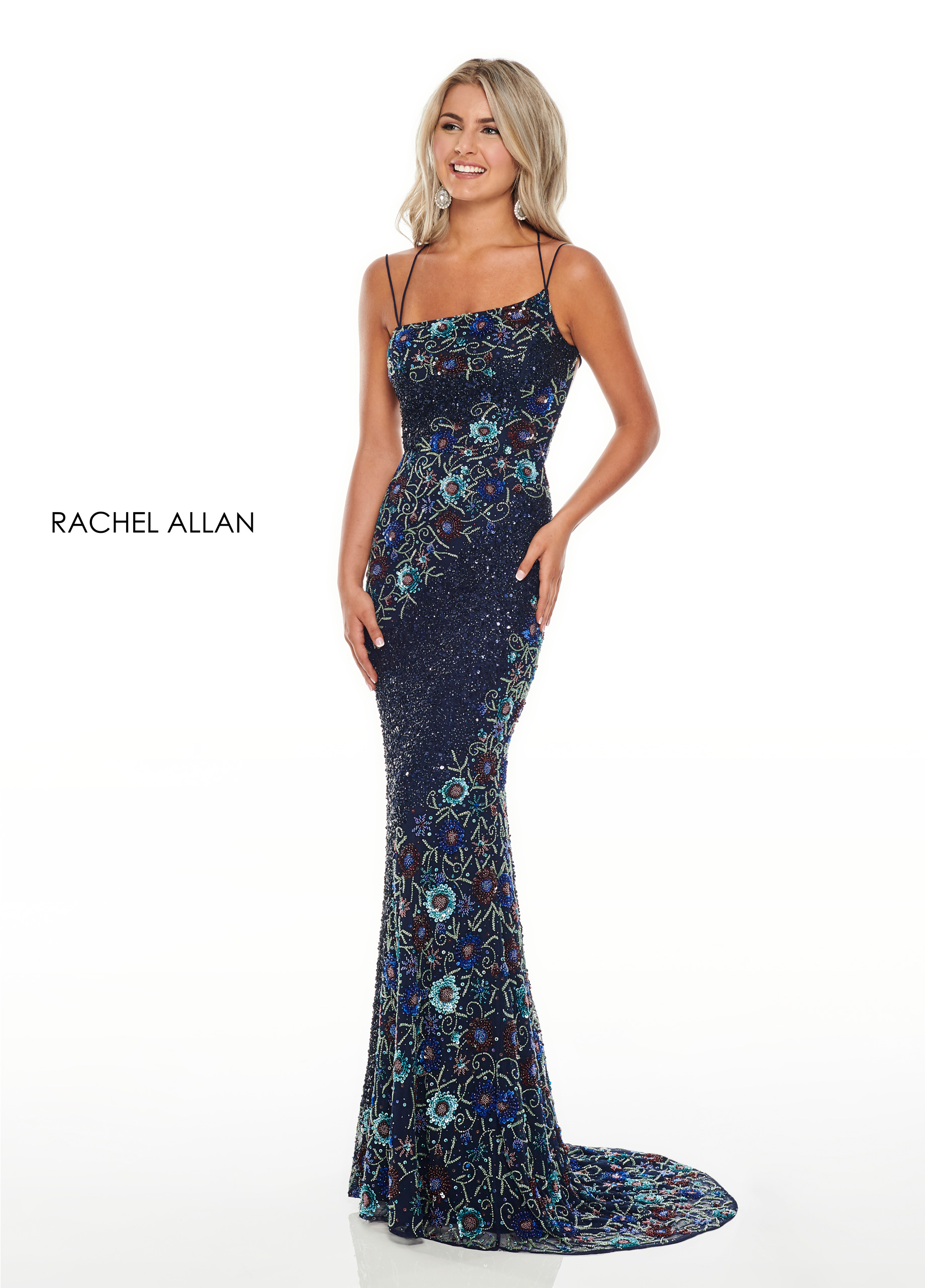 Strappy Fitted Long Prom Dresses in Navy Color