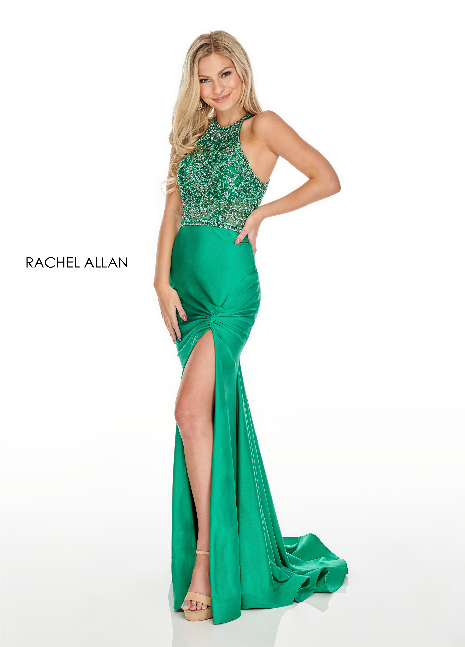 Beaded Fitted Long Prom Dresses in Emerald Color