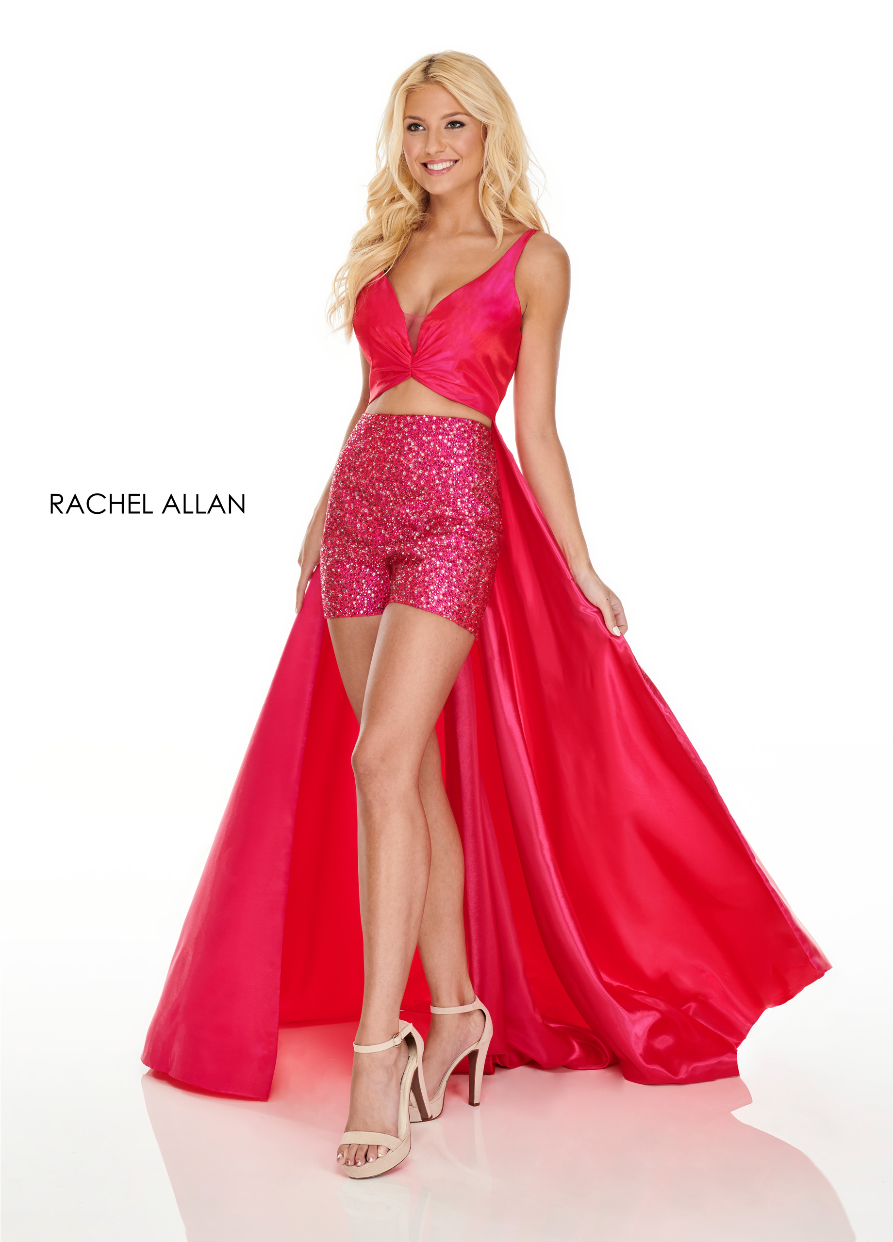 V-Neck Shorts With Overlay Prom Dresses in Magenta Color