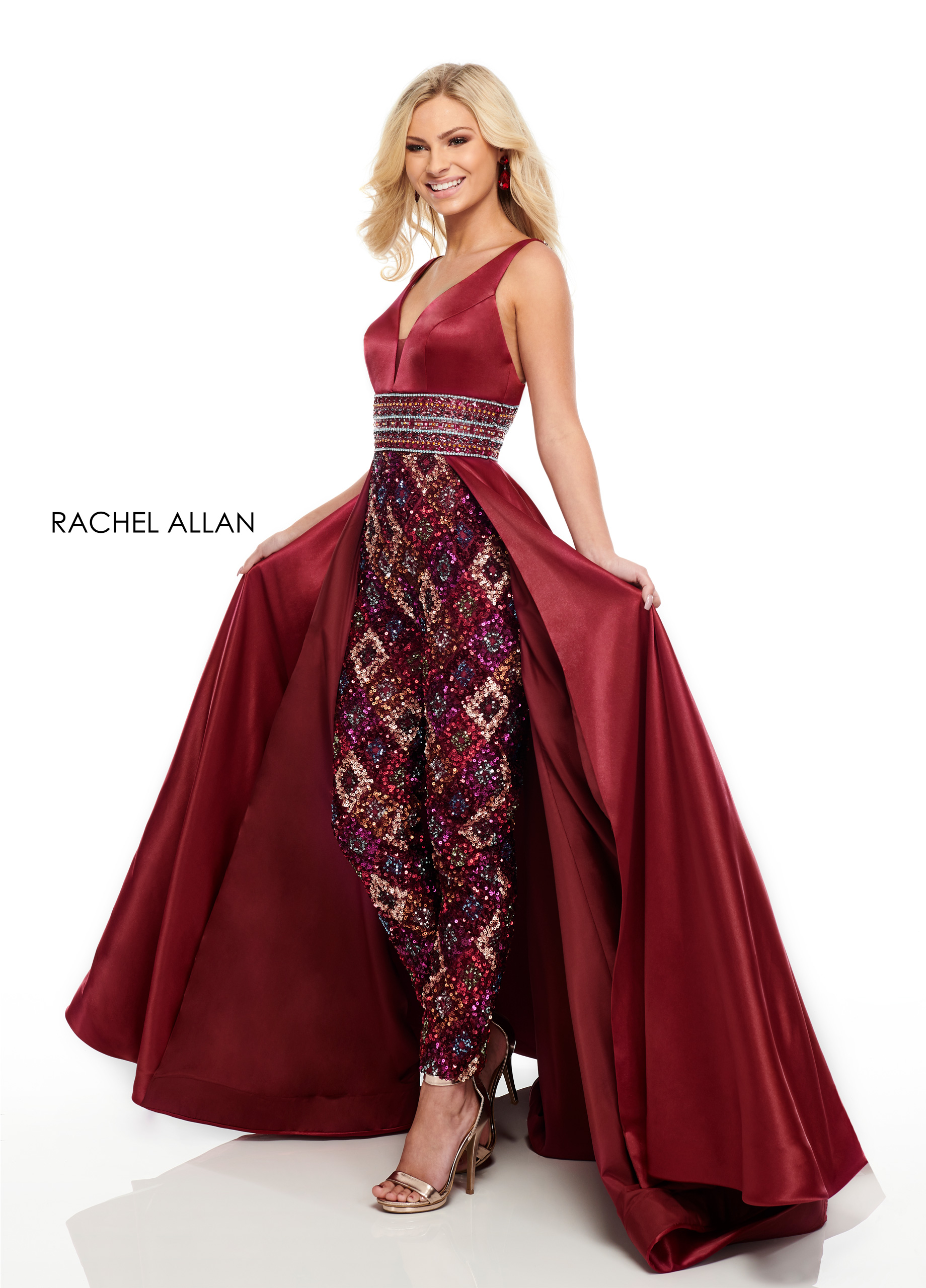 V-Neck Pants With Overlay Prom Dresses in Red Color