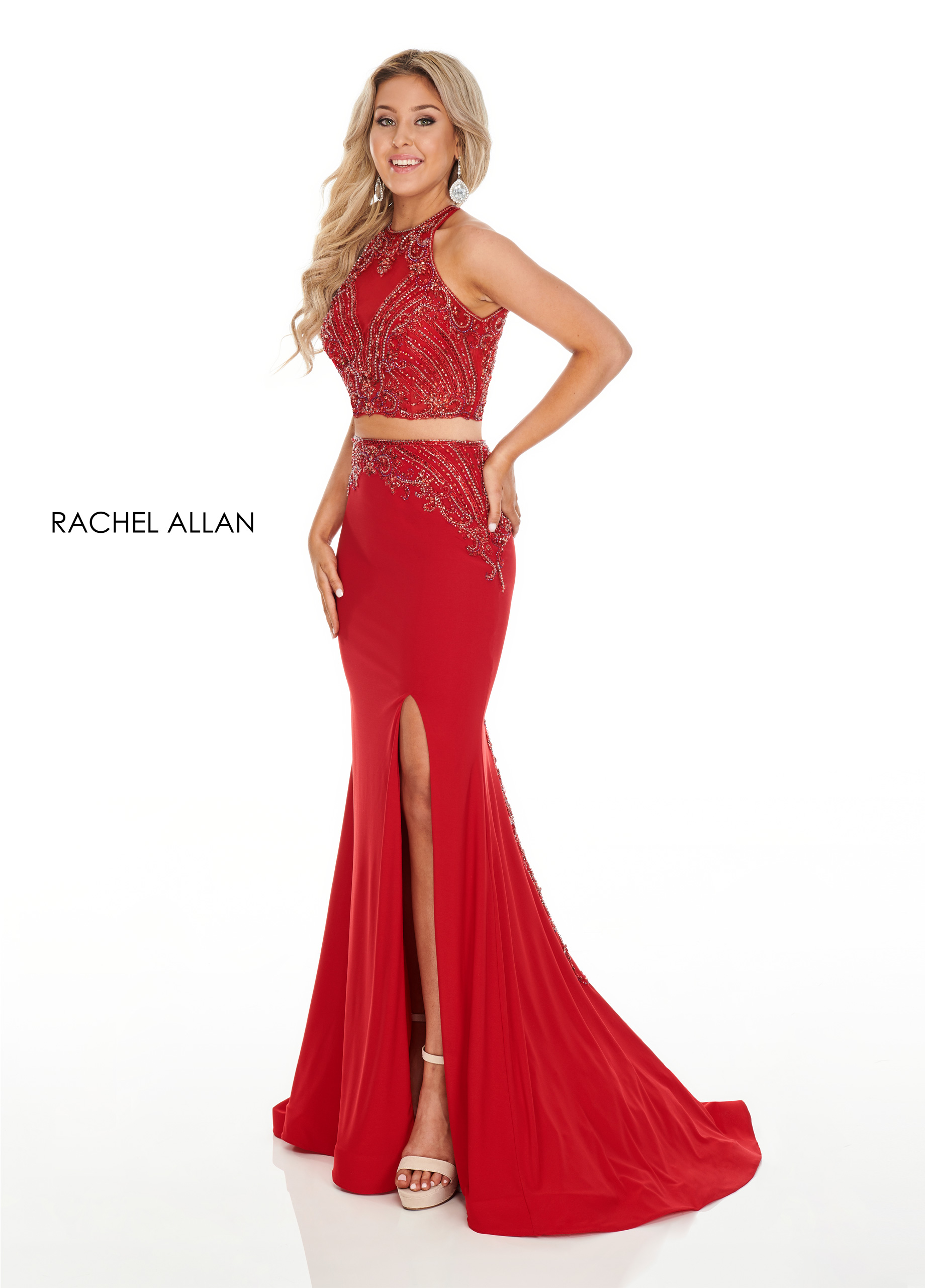 Beaded Two-Piece Prom Dresses in Red Color