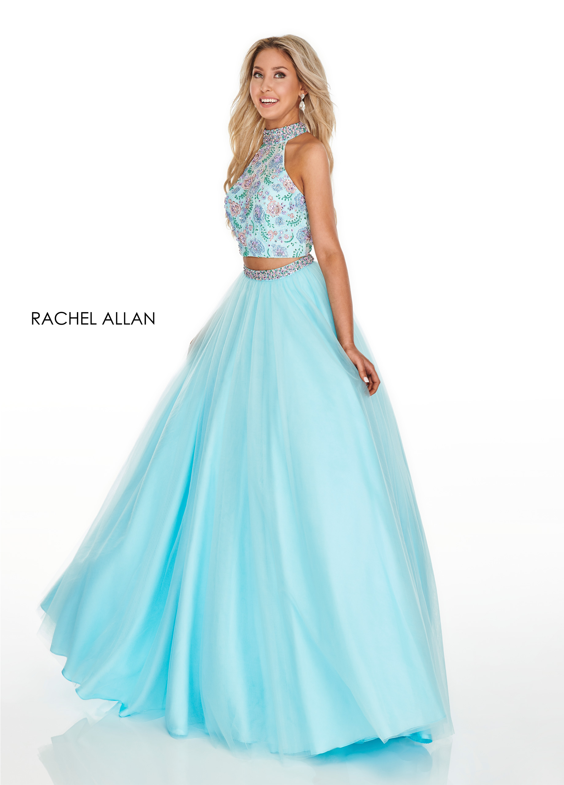 Beaded Two-Piece Prom Dresses in Aqua Color