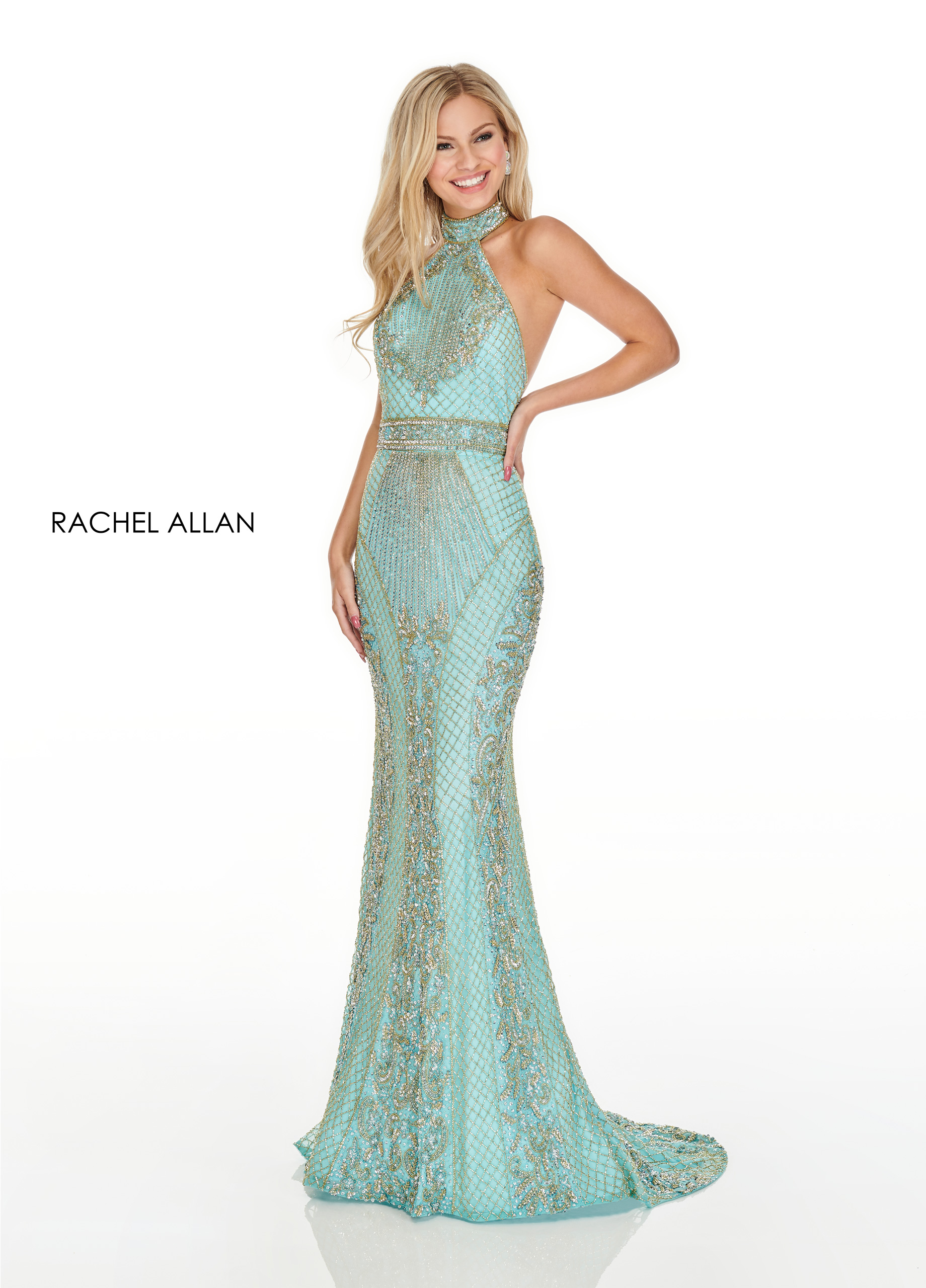 Halter Fitted Long Prom Dresses in Aqua Color
