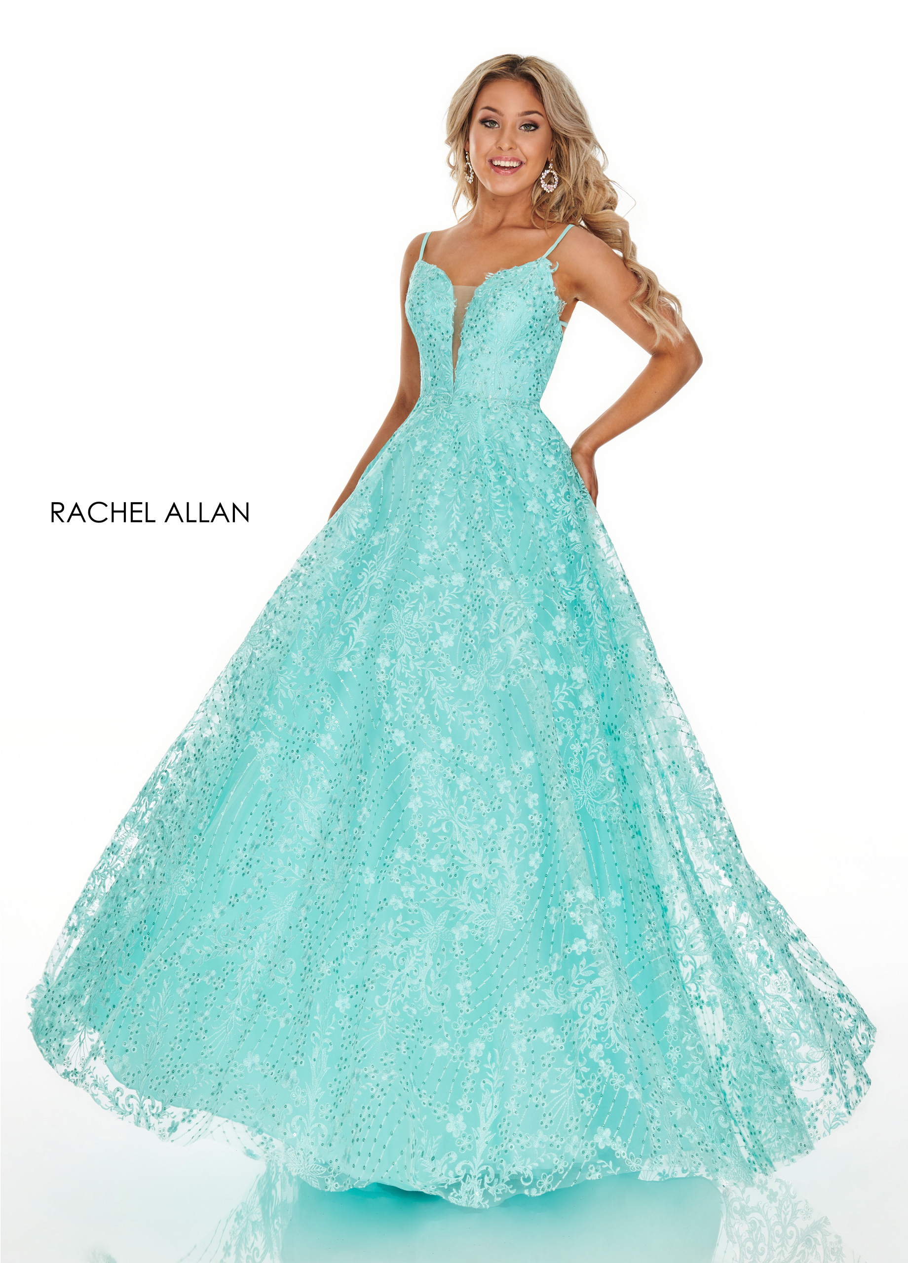 Strappy Ball Gowns Prom Dresses in Aqua Color