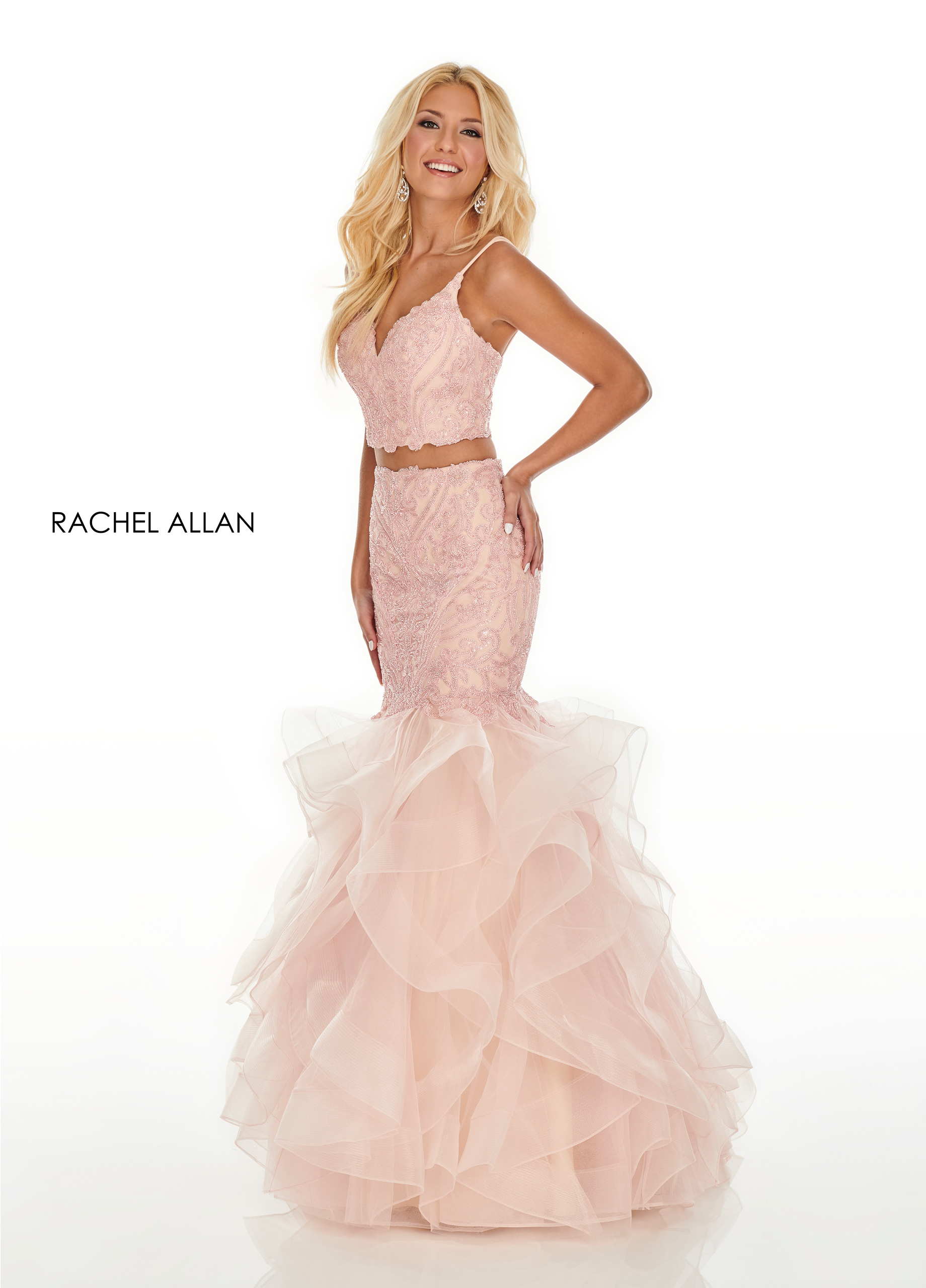 V-Neck Mermaid Prom Dresses in Blush Color