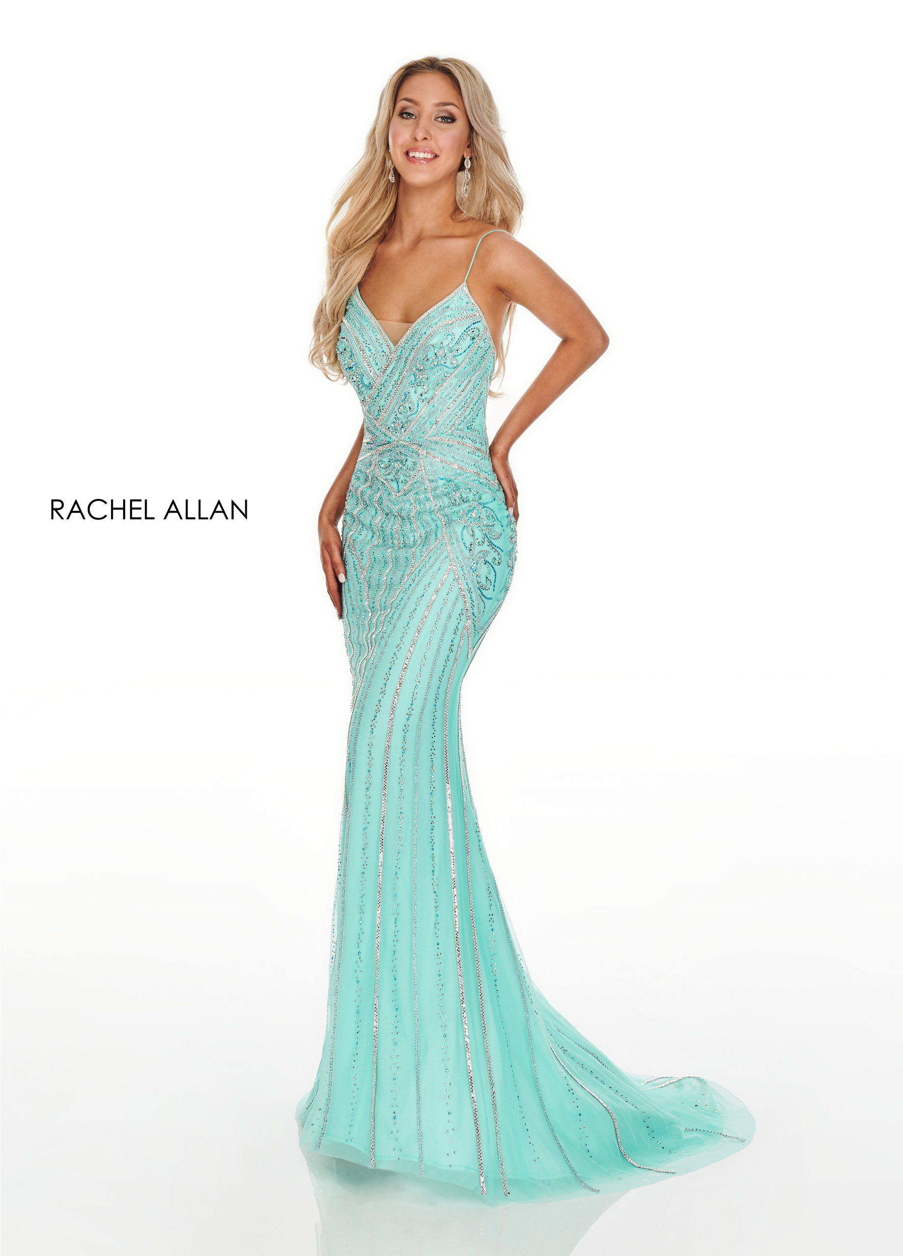 Strappy Fitted Long Prom Dresses in Aqua Color