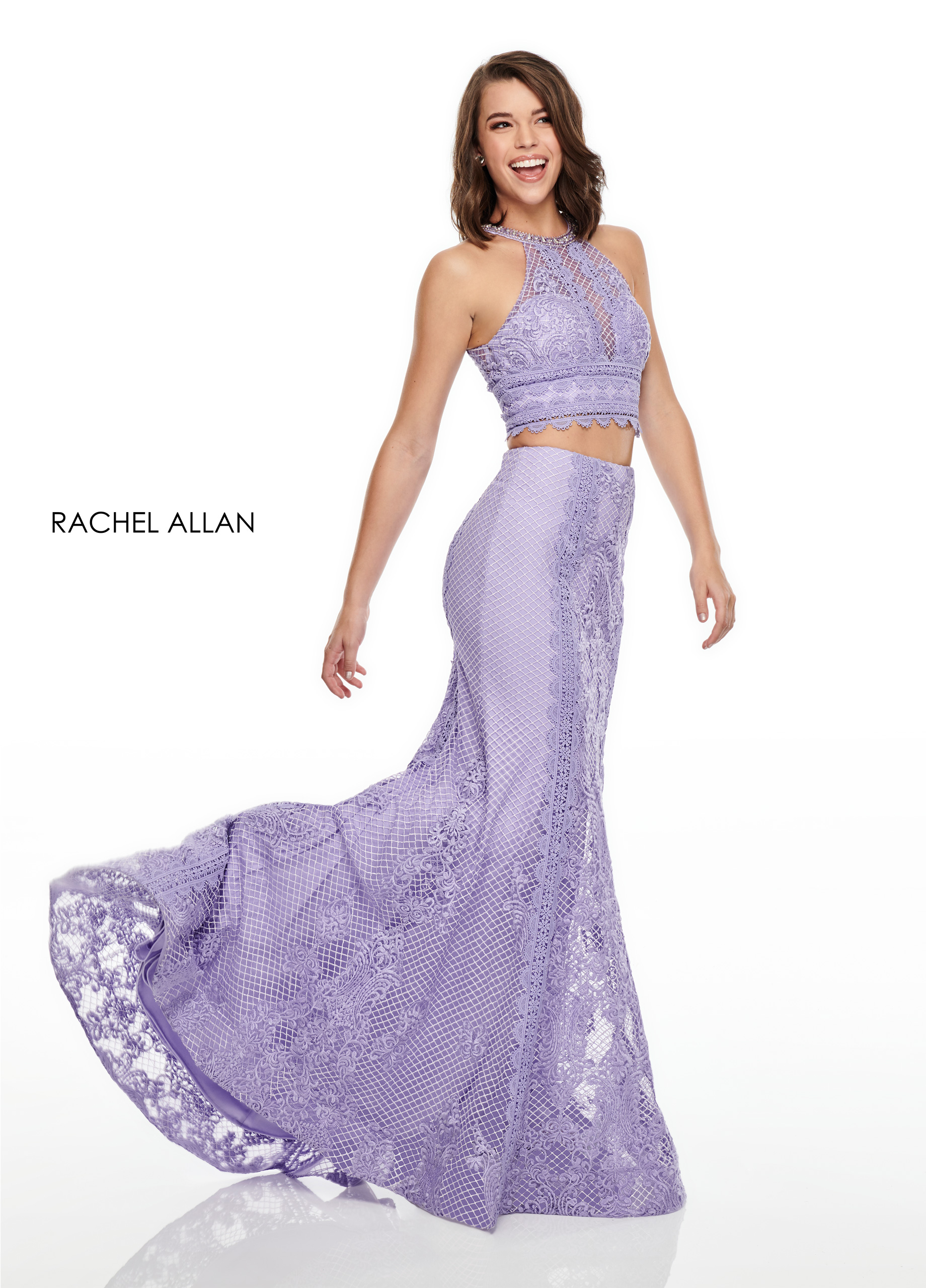 High Neckline Two-Piece Prom Dresses in Lilac Color