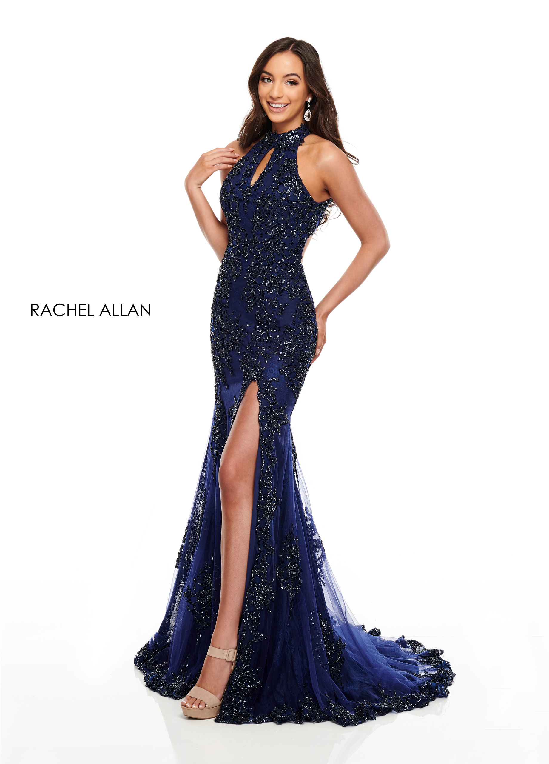 Beaded Fitted Long Prom Dresses in Navy Color