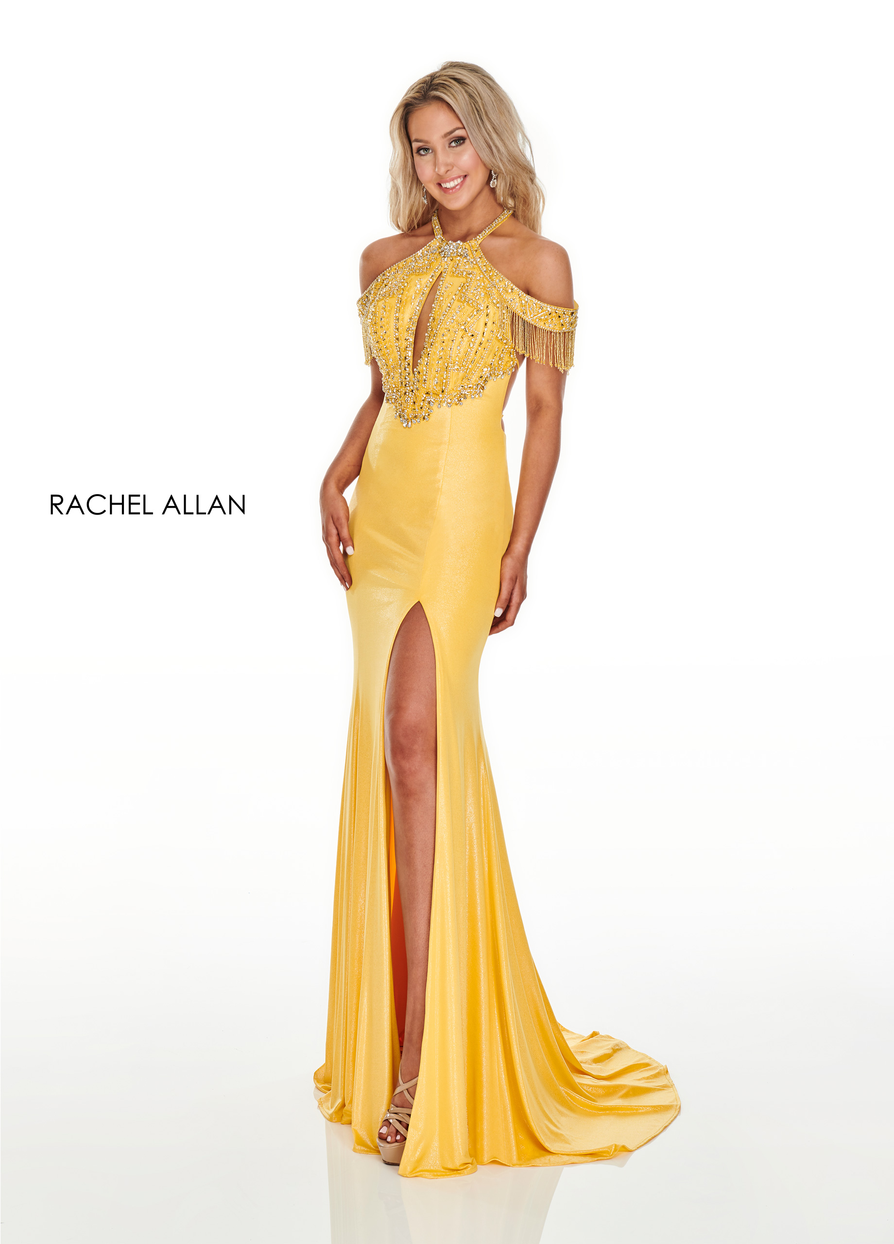 Open Shoulder Fitted Long Prom Dresses in Yellow Color