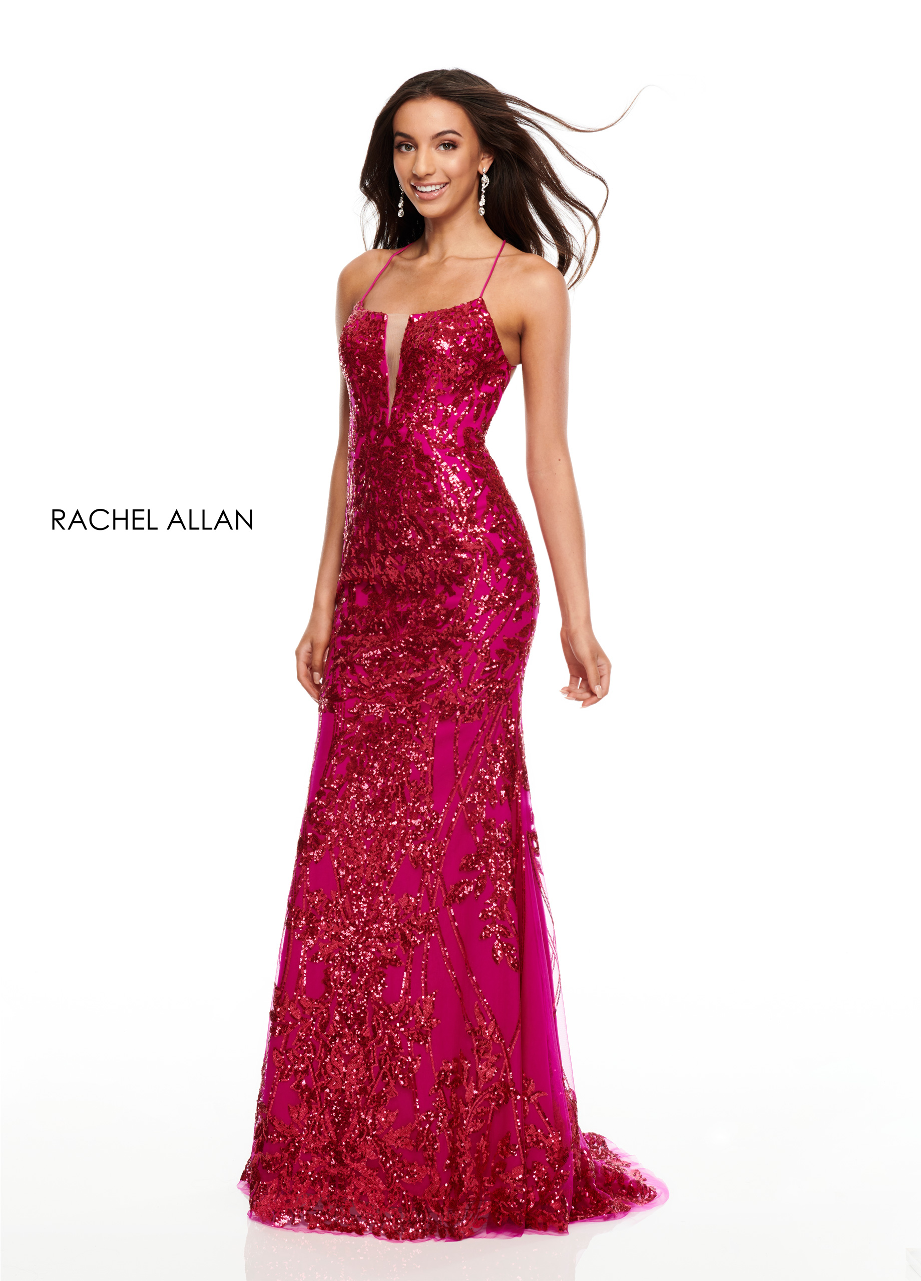V-Neck Fitted Long Prom Dresses in Magenta Color