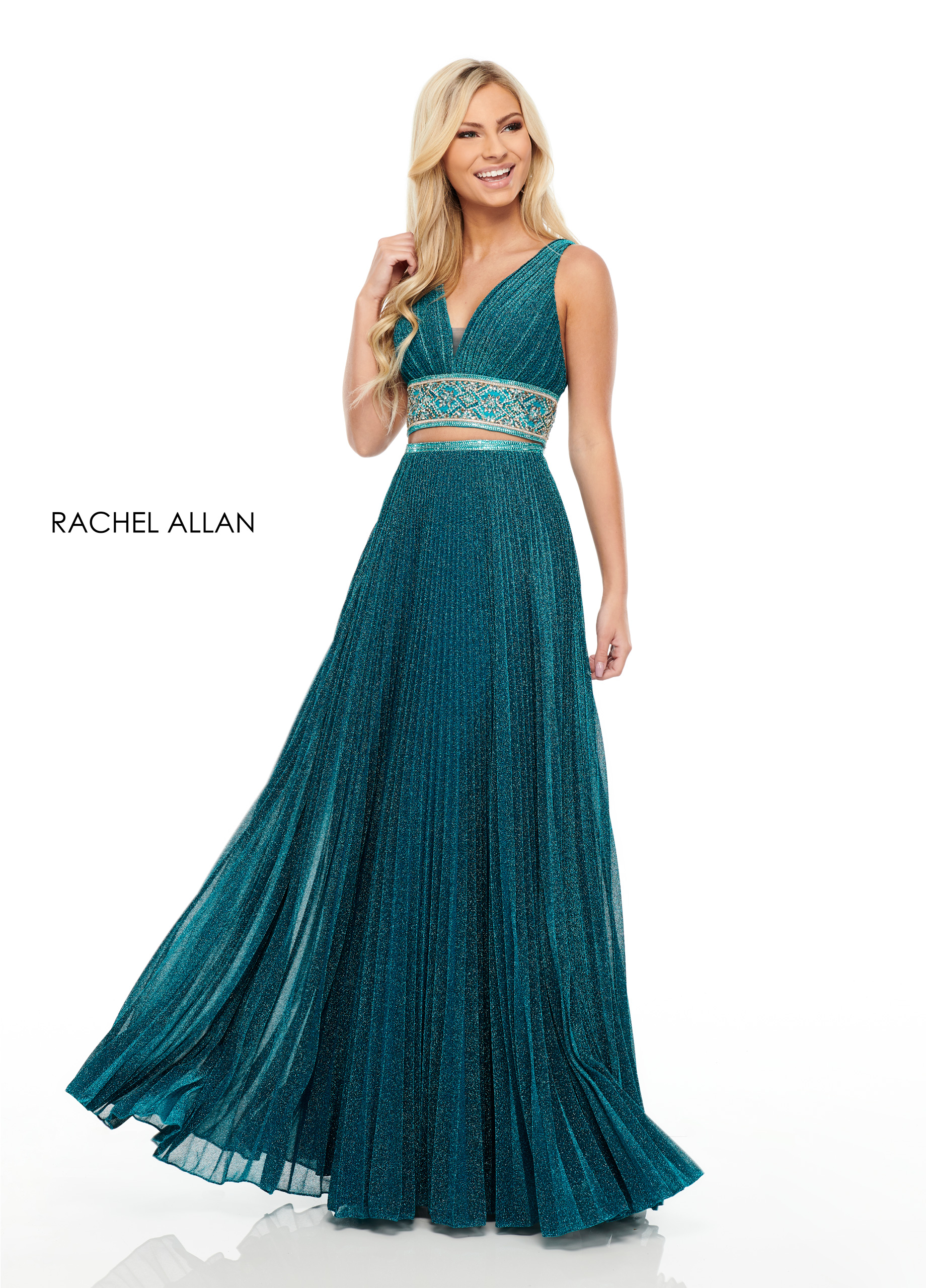 V-Neck Two-Piece Prom Dresses in Blue Color