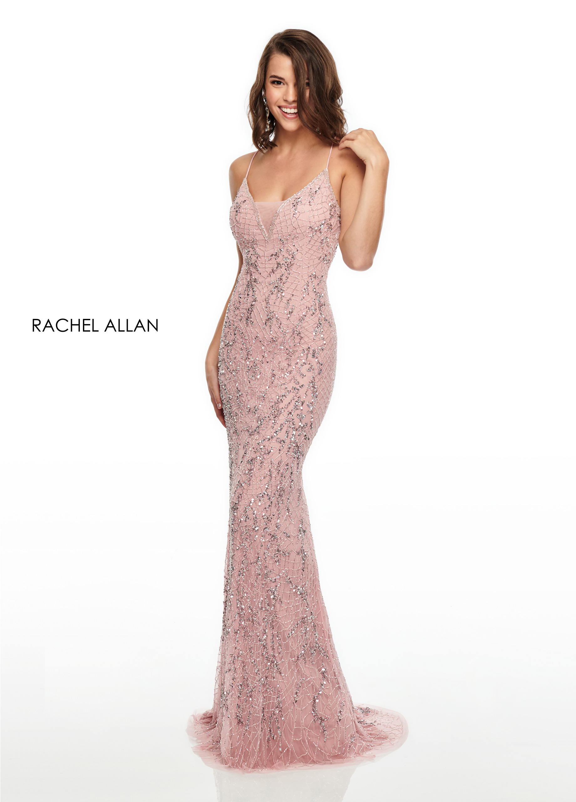 V-Neck Fitted Long Prom Dresses in Blush Color