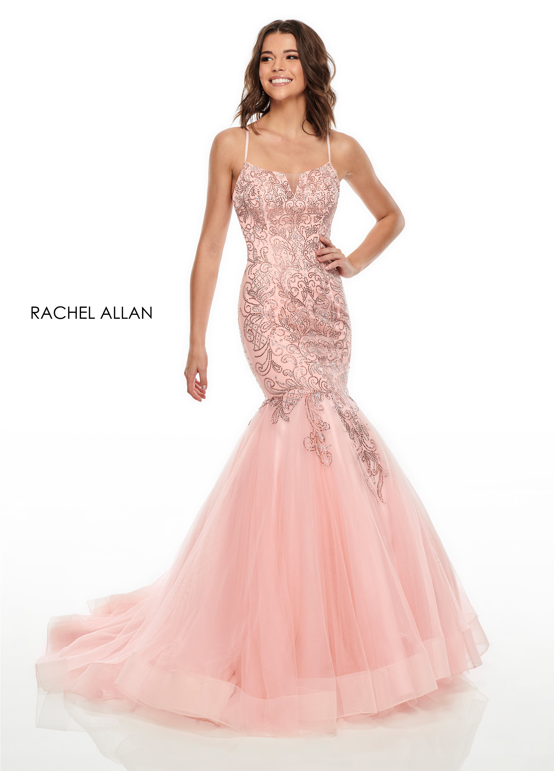 Square Mermaid Prom Dresses in Blush Color