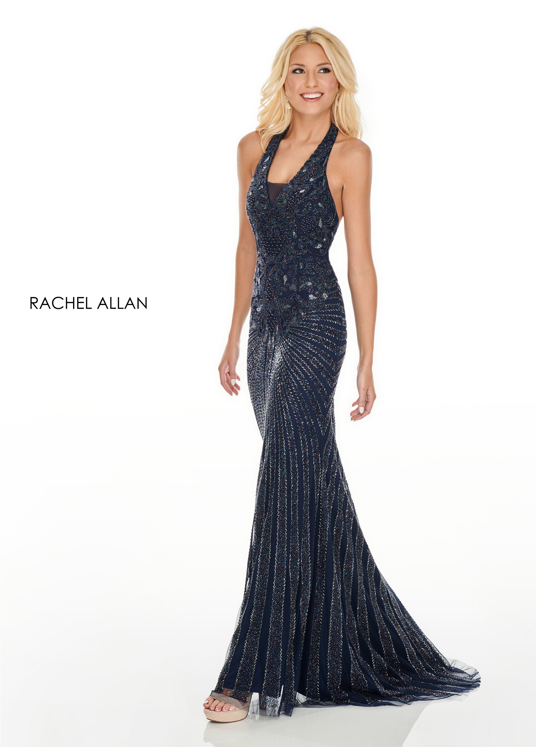 Halter Fitted Long Prom Dresses in Navy Color