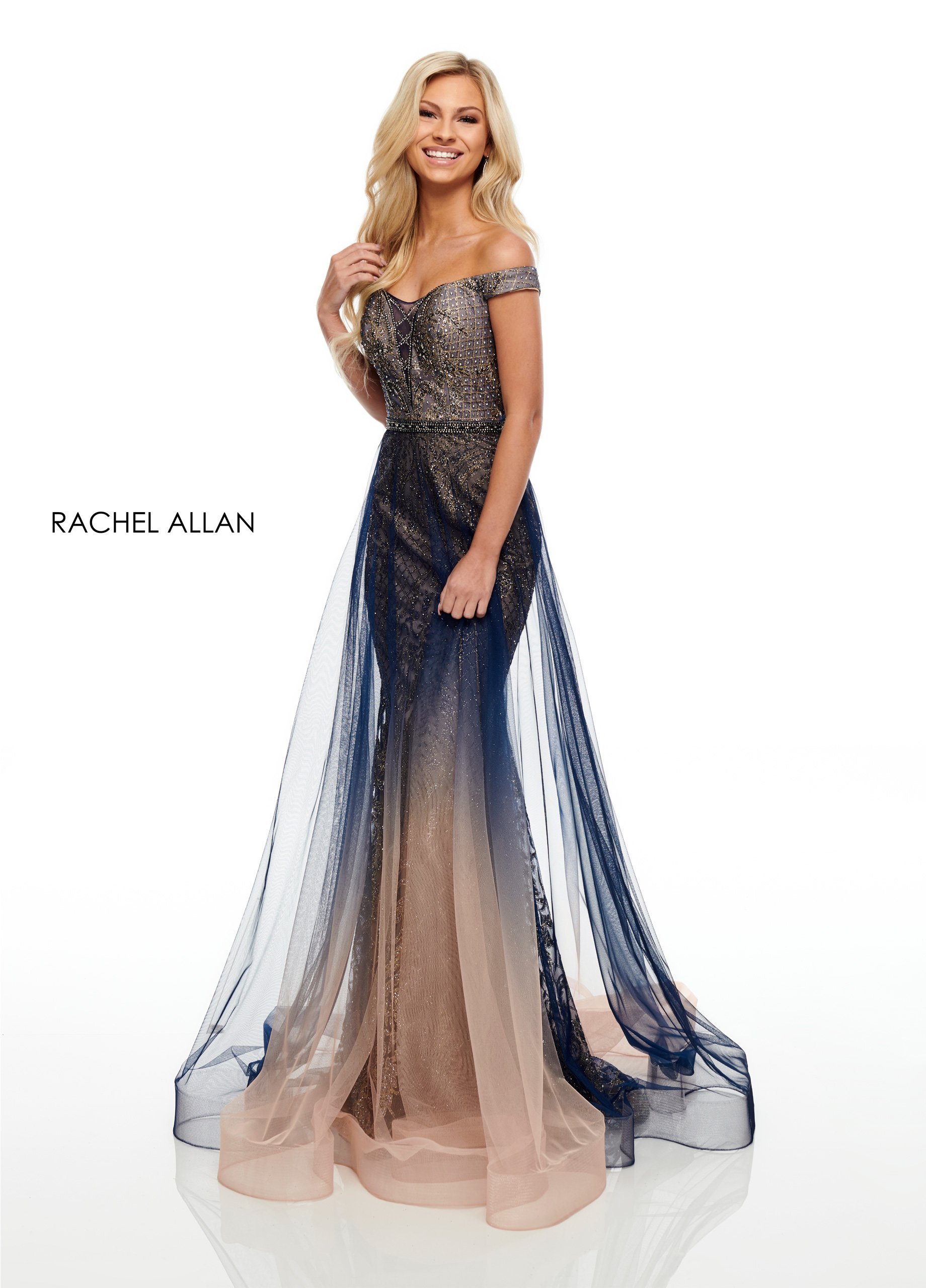 Off The Shoulder Mermaid Prom Dresses in Navy Color