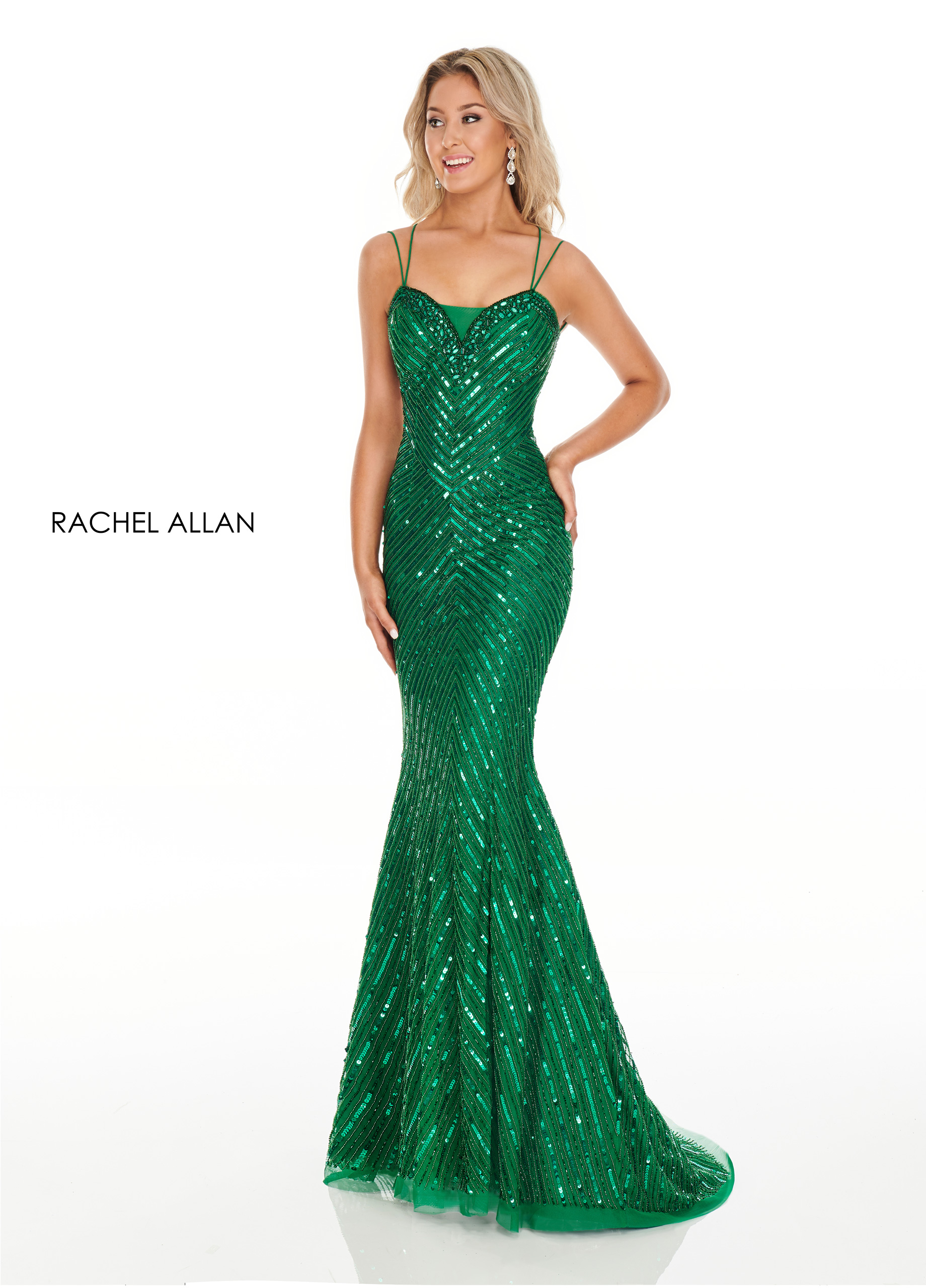 V-Neck Fitted Long Prom Dresses in Emerald Color