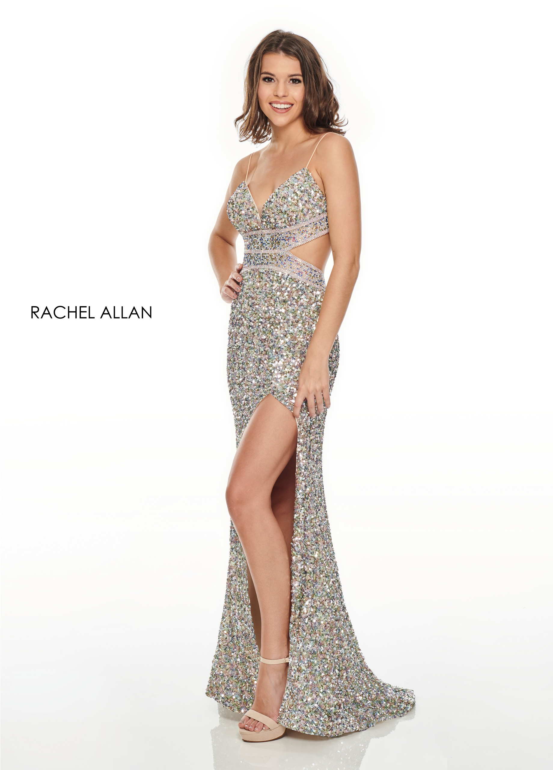Strappy Fitted Long Prom Dresses in Silver/gunmetal Color