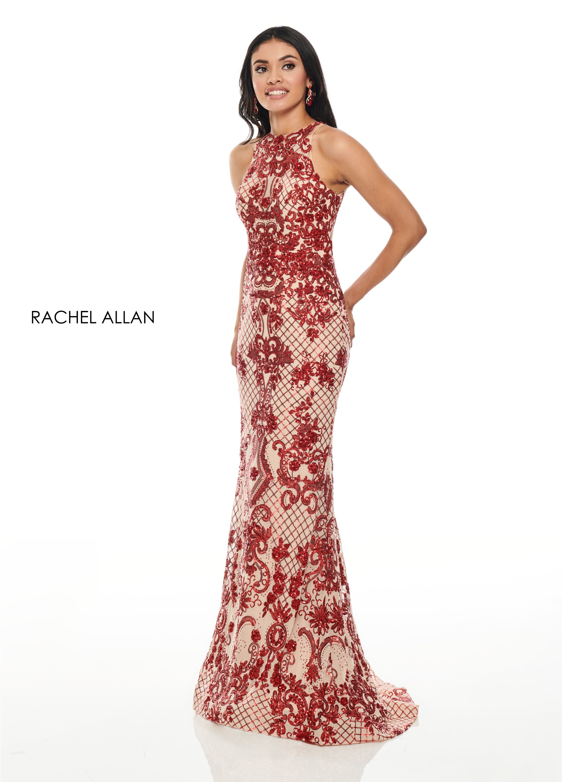 High Neckline Fitted Long Prom Dresses in Red Color