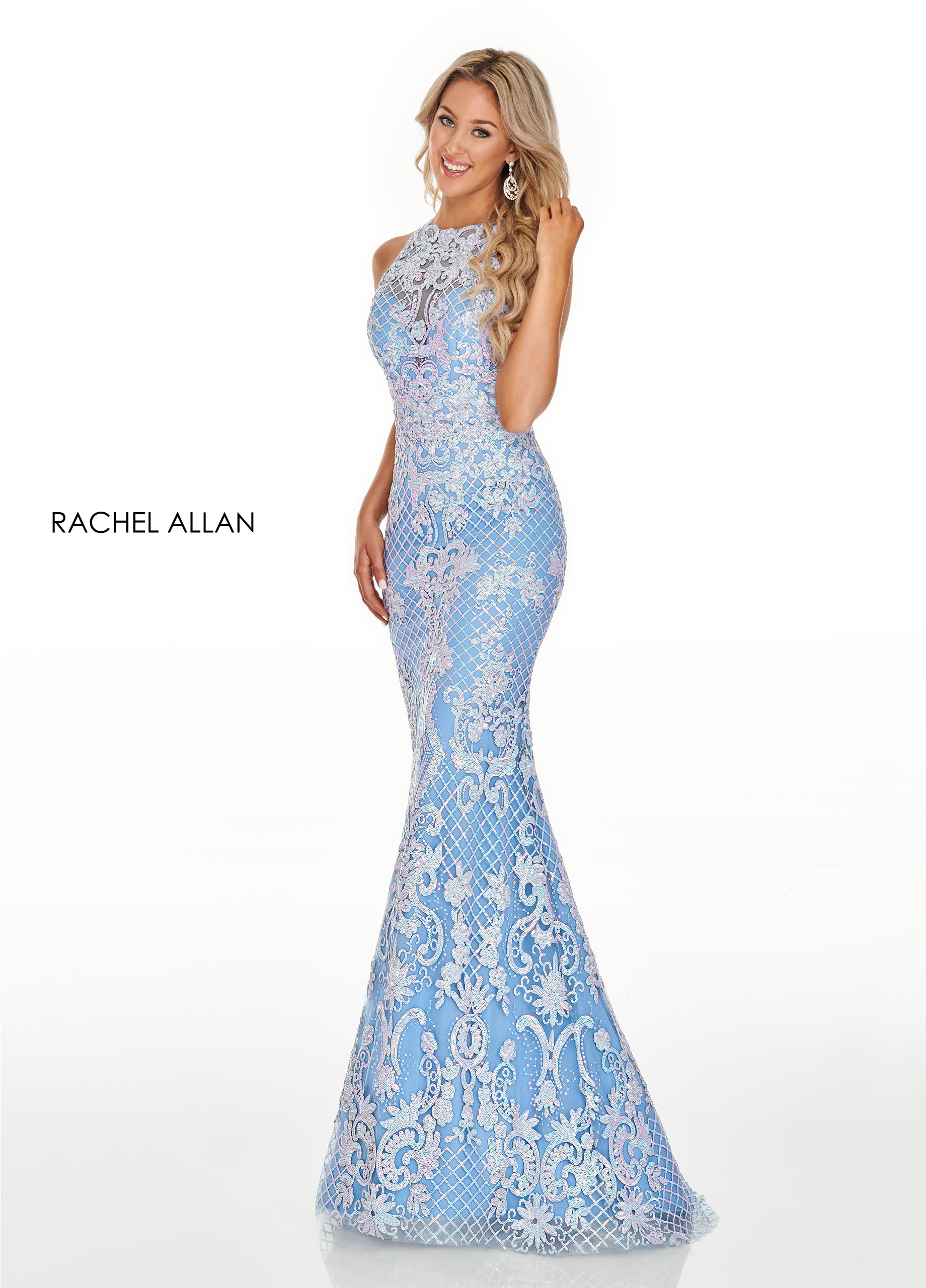 High Neckline Fitted Long Prom Dresses in Blue Color