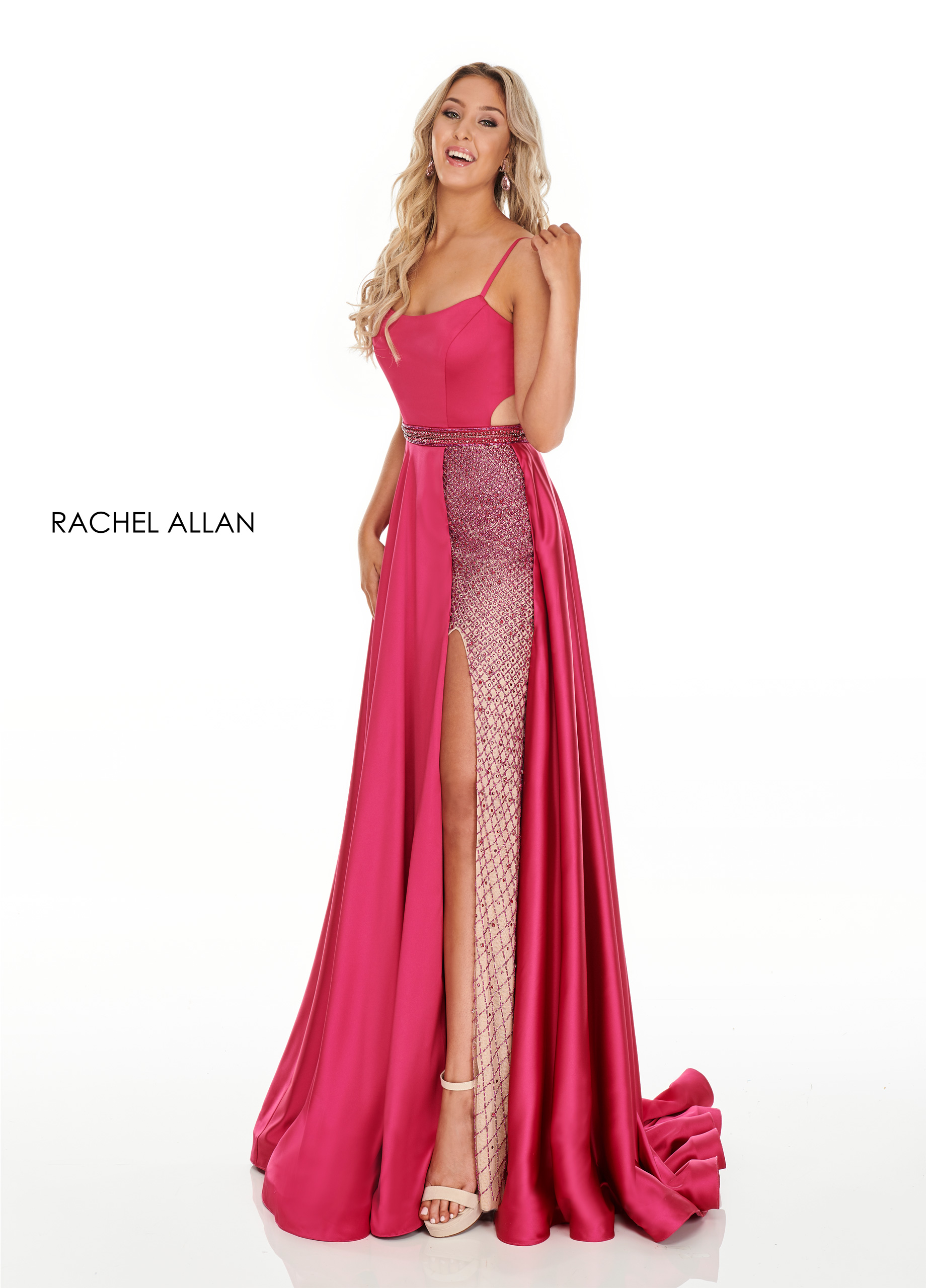 Square Skirt With Overlay Prom Dresses in Fuchsia Color