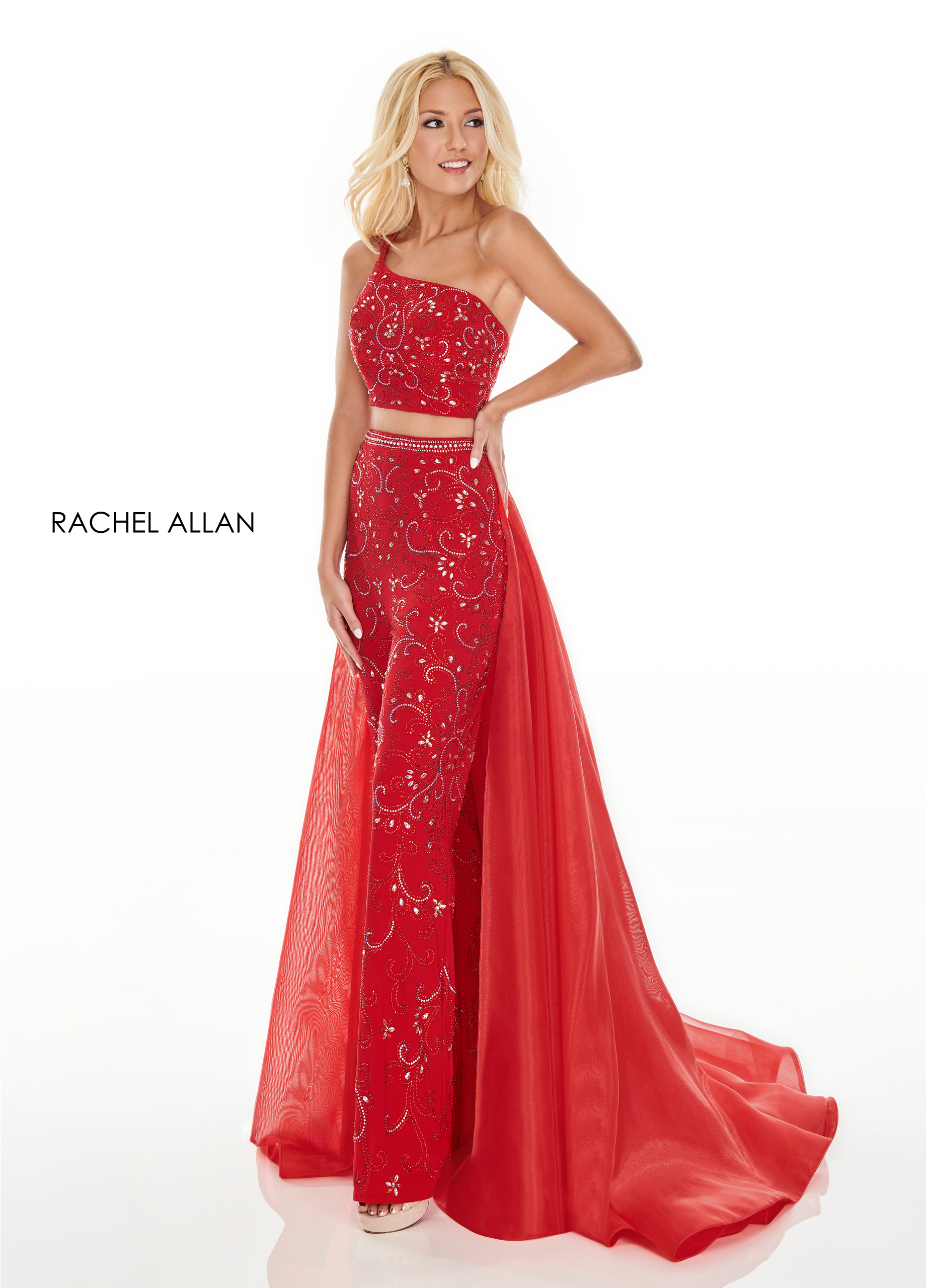One Shoulder Pants With Overlay Prom Dresses in Red Color