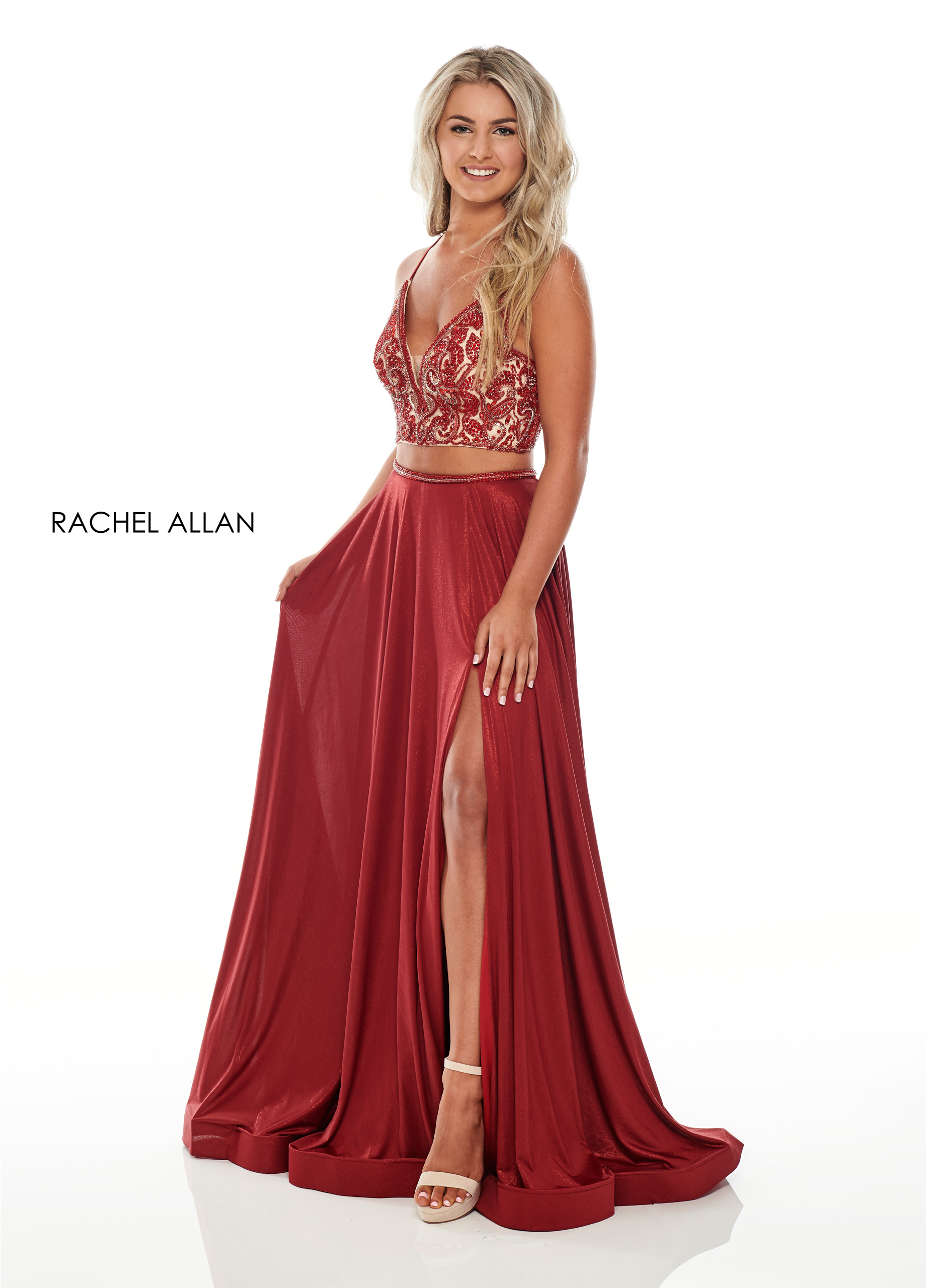 V-Neck Two-Piece Prom Dresses in Red Color
