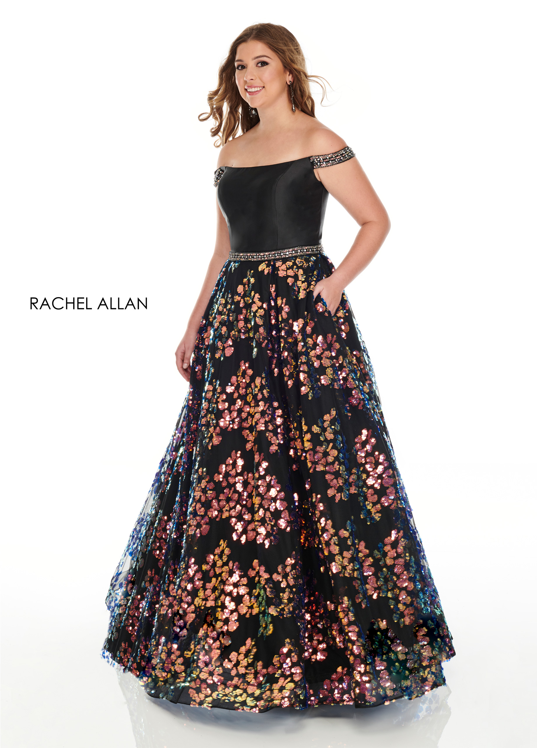 Off The Shoulder A-Line Plus Size Dresses in Black Color