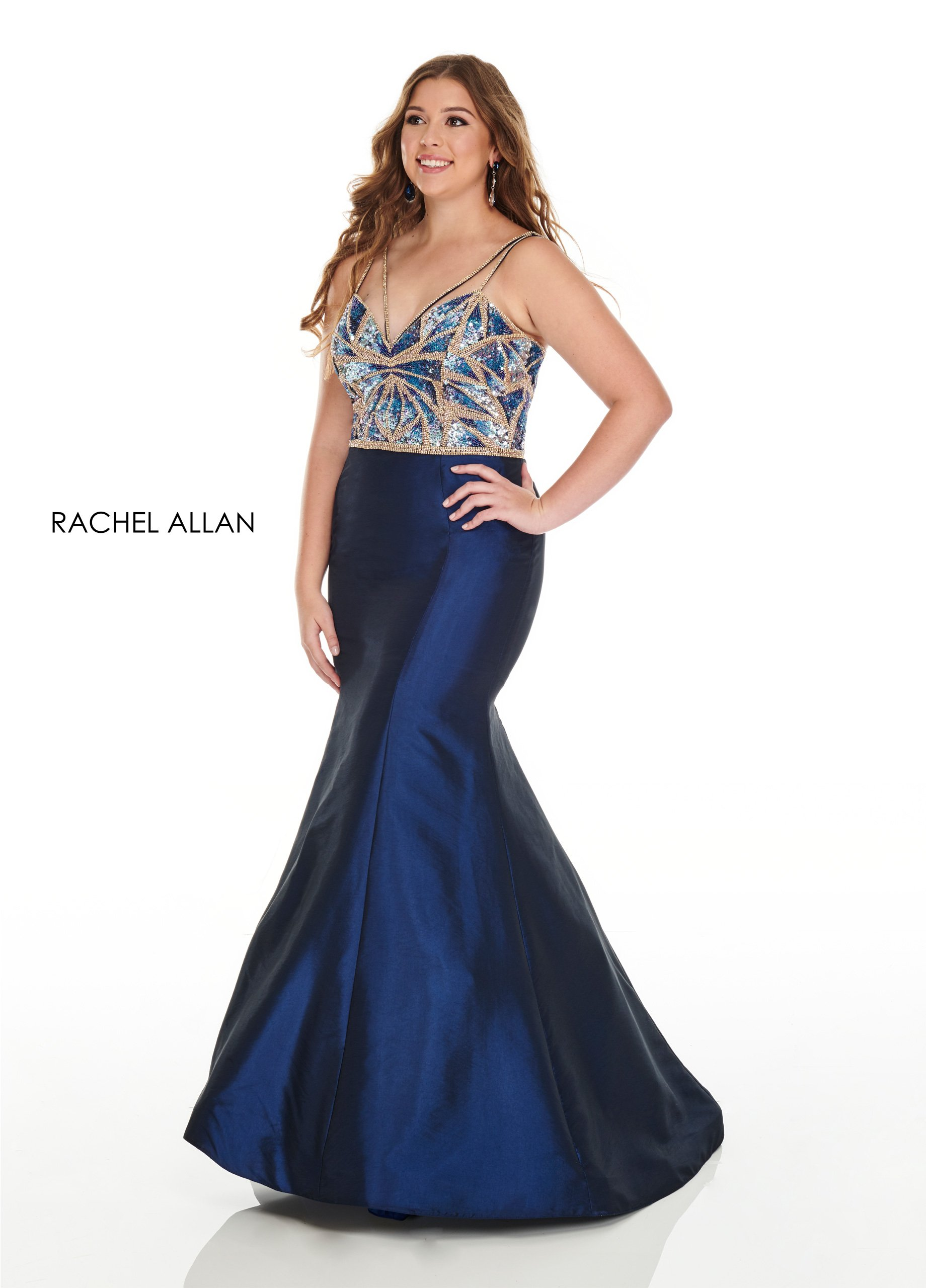 Strappy Mermaid Plus Size Dresses in Navy Color