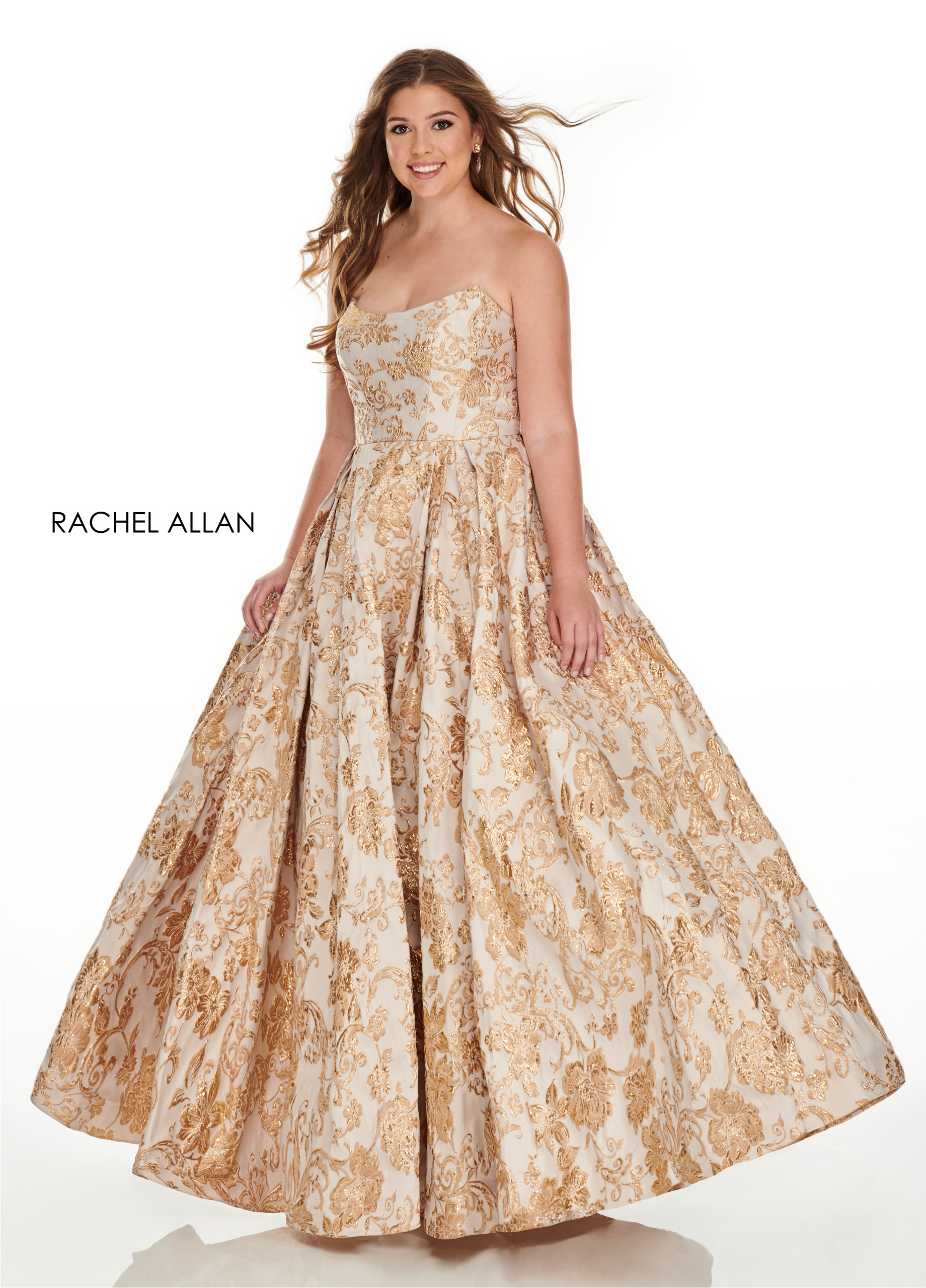 Strapless Ball Gowns Plus Size Dresses in Gold Color