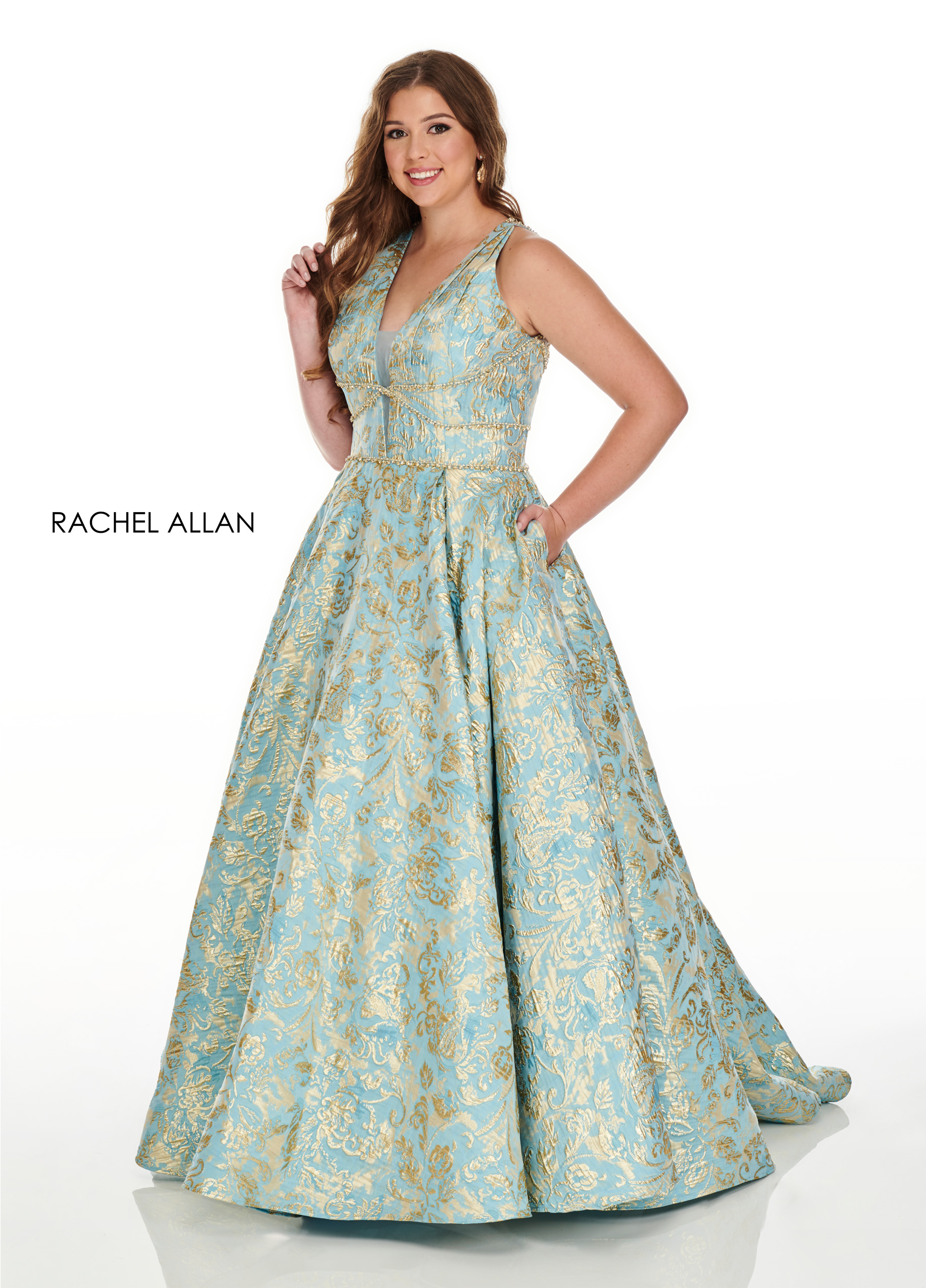 V-Neck Ball Gowns Plus Size Dresses in Aqua Color